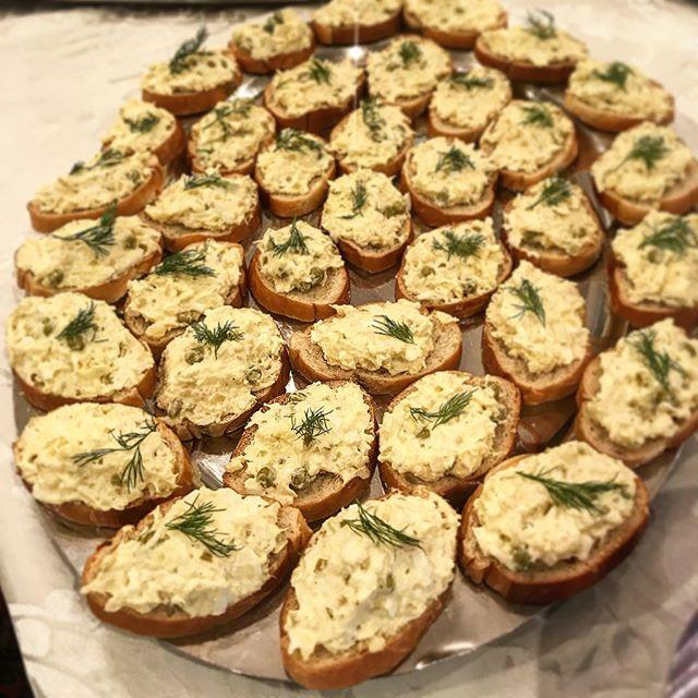 Let us cater your next event! Potato salad crostini. #catering #crostini