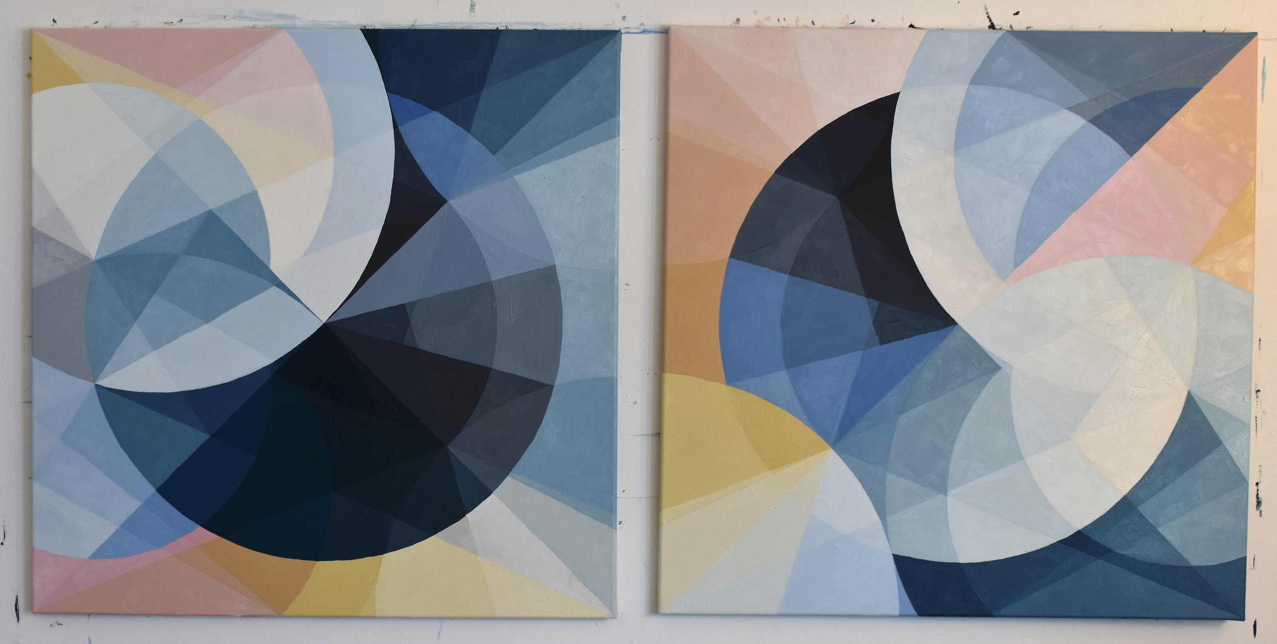 """""""To the Moon and Back"""" 2019  Oil on canvas, 30x 60 inches  Commissioned pair for Kristin Costello"""