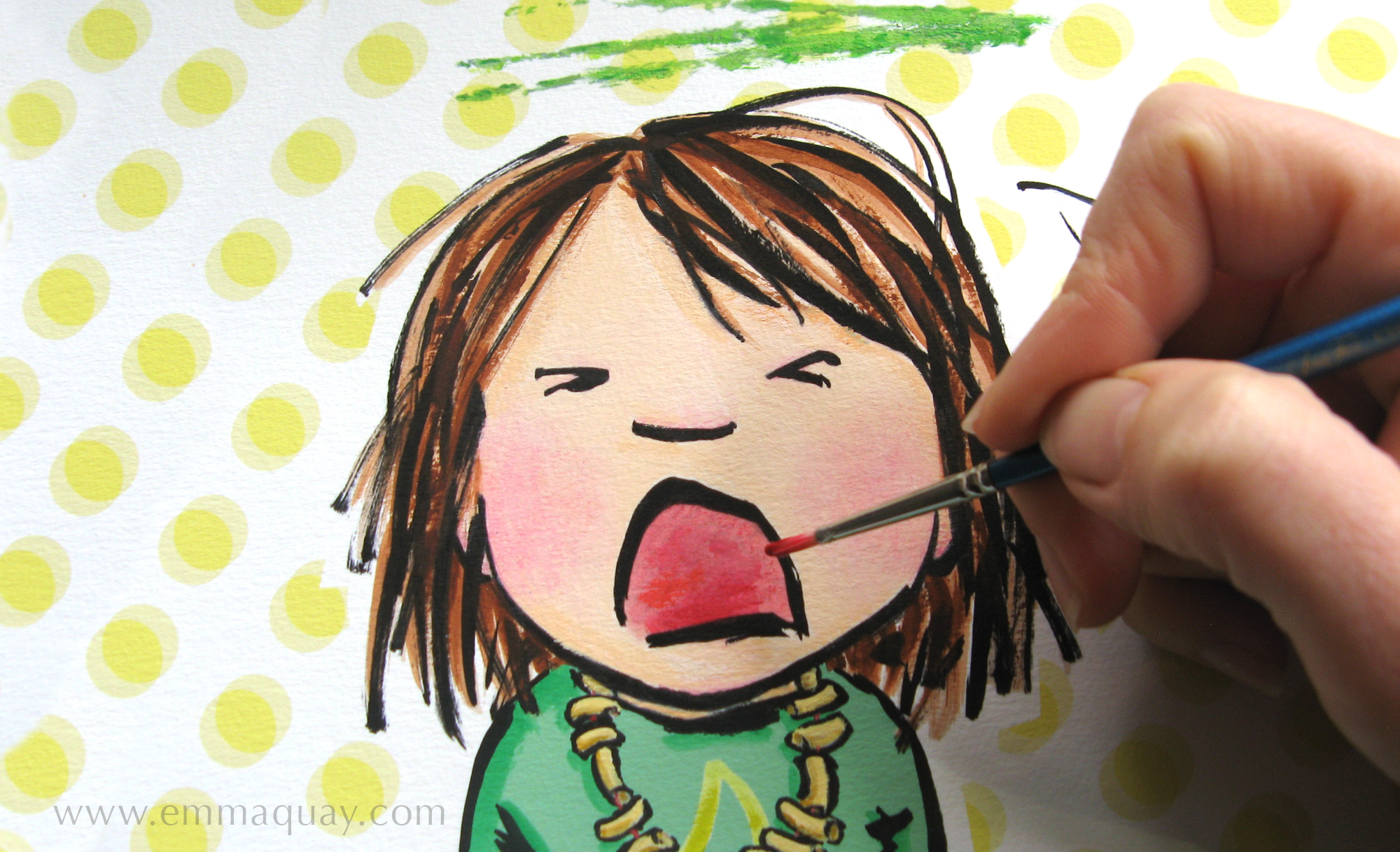 The final stage of the illustrative process was adding the last of the colour with acrylic paints (I didn't leave all of the painting to my daughters!). This is Violet's sisters' meltdown moment, and she is expressing herself in green.