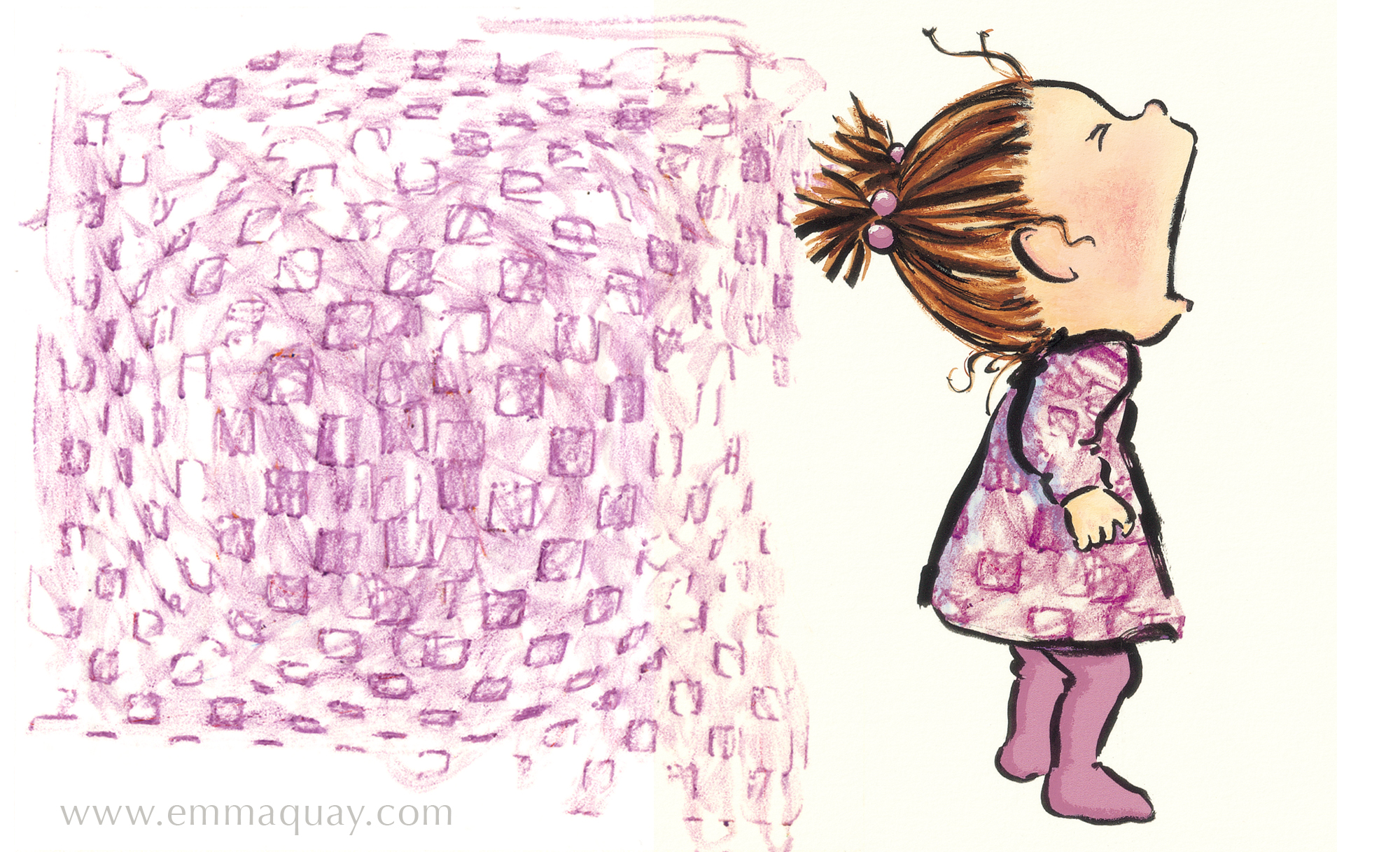 And this wax crayon rubbing was perfect for Violet's other dress.