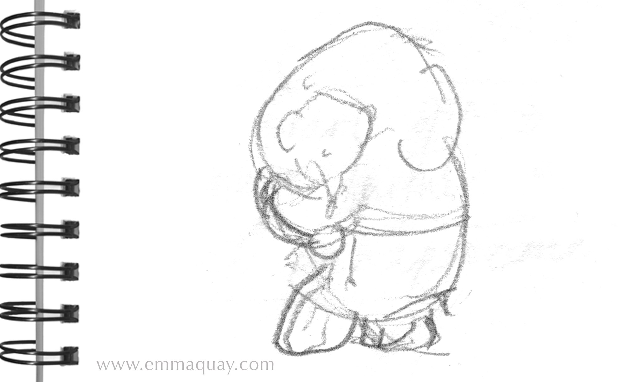 This is one of the first sketches I drew after reading Mem Fox's manuscript for  Baby   Bedtime . It is quite small – just over 5cm high – but this drawing grew into a whole book.