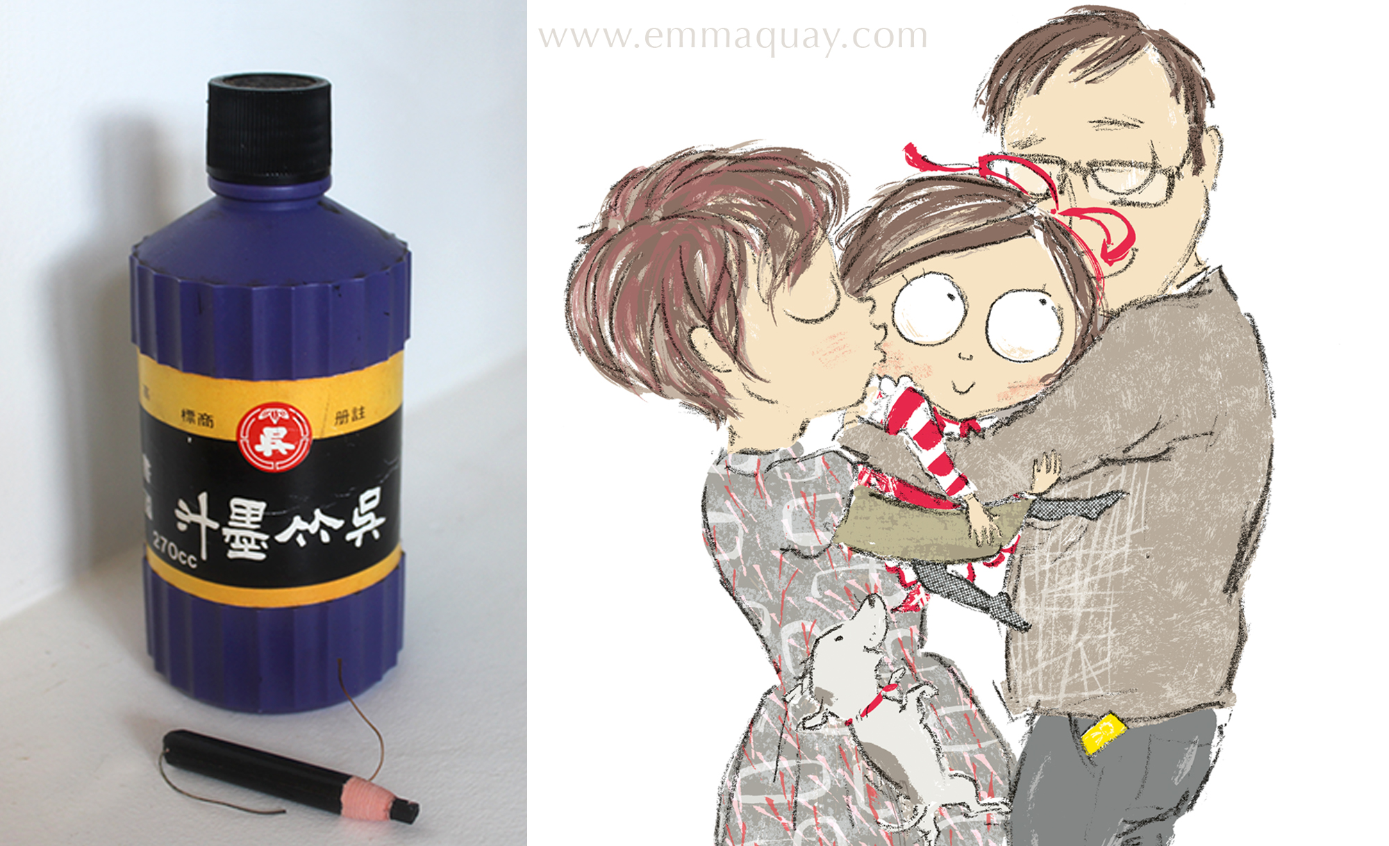These were the only traditional art materials I used in the book – a bottle of black Japanese ink and a black pencil crayon my kids were given in a colouring pack on a JAL flight. With the help of Photoshop, every line, colour and pattern came from from these two.