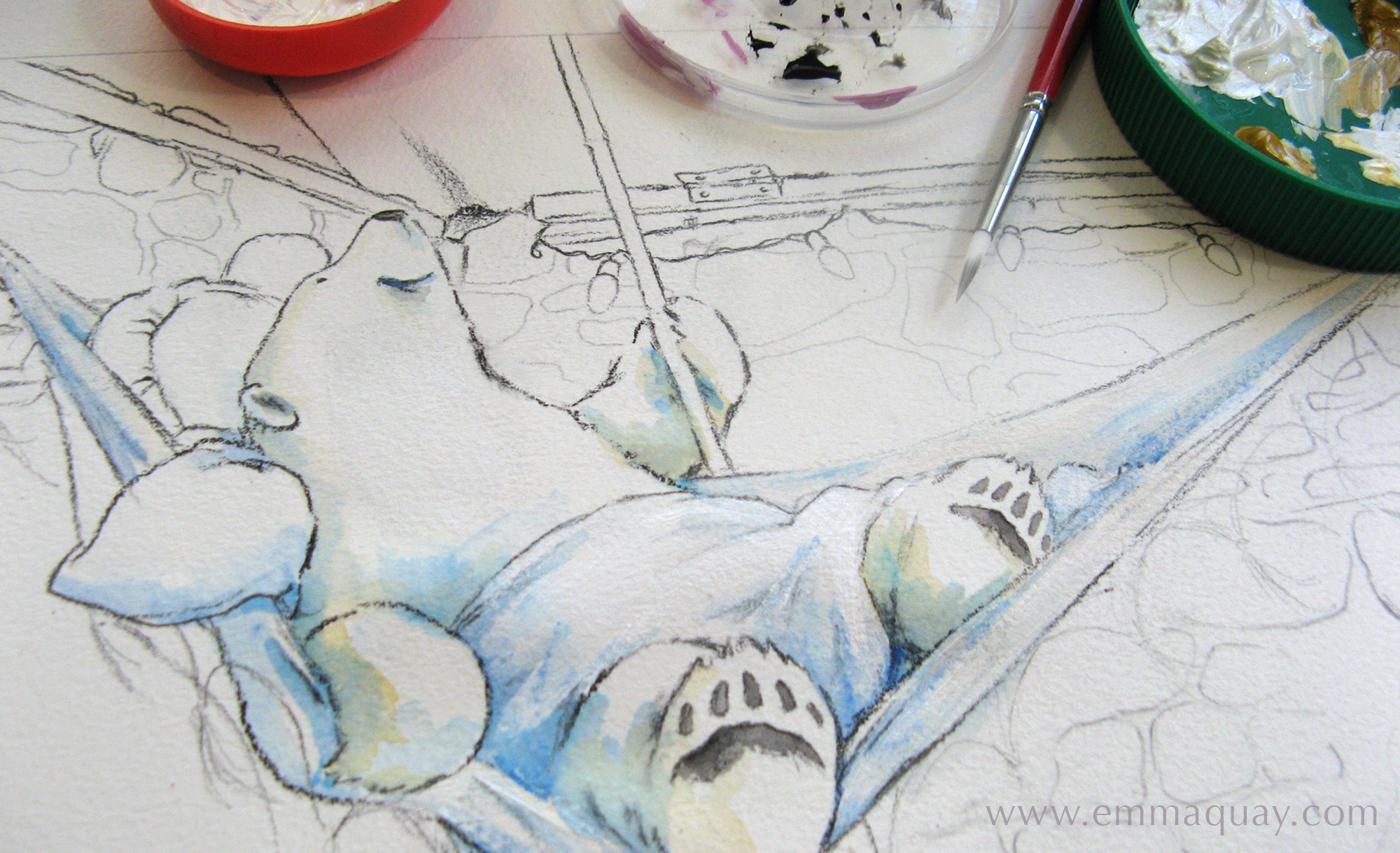 At this stage I'd drawn the outlines with a waxy Chinagraph pencil, and had just begun to paint the artwork for the opening spread of  Bear and Chook by the Sea .