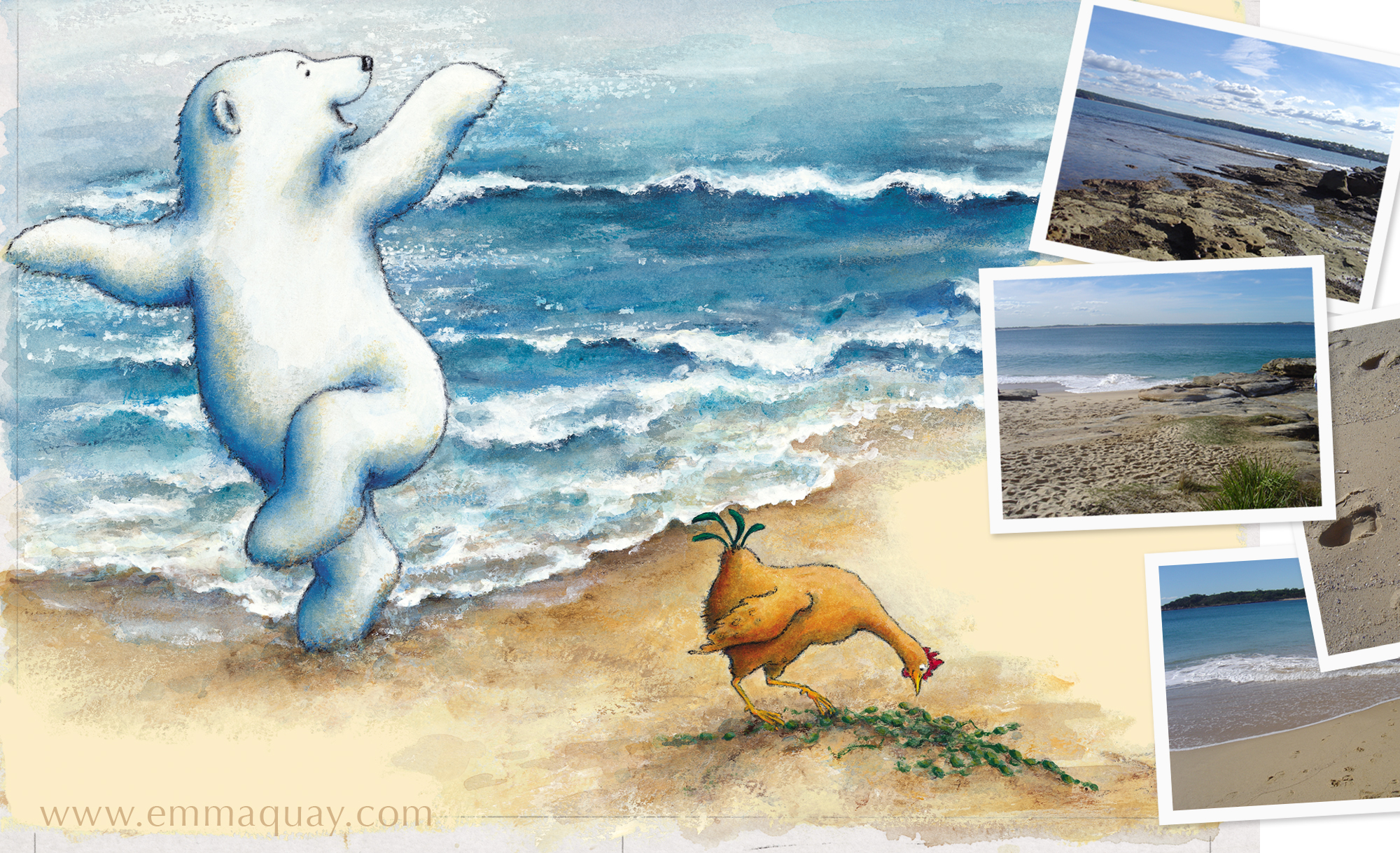 Before I painted the illustrations for  Bear and Chook by the Sea,  I went to Jibbon Beach on the edge of the Royal National Park, NSW to sketch and take photos.