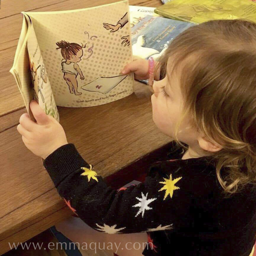 Charlotte reading SHRIEKING VIOLET, a picture book by Emma Quay (ABC Books) — www.emmaquay.com