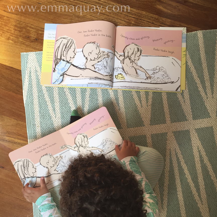 Reading RUDIE NUDIE on the rug, a picture book by Emma Quay (ABC Books) — www.emmaquay.com
