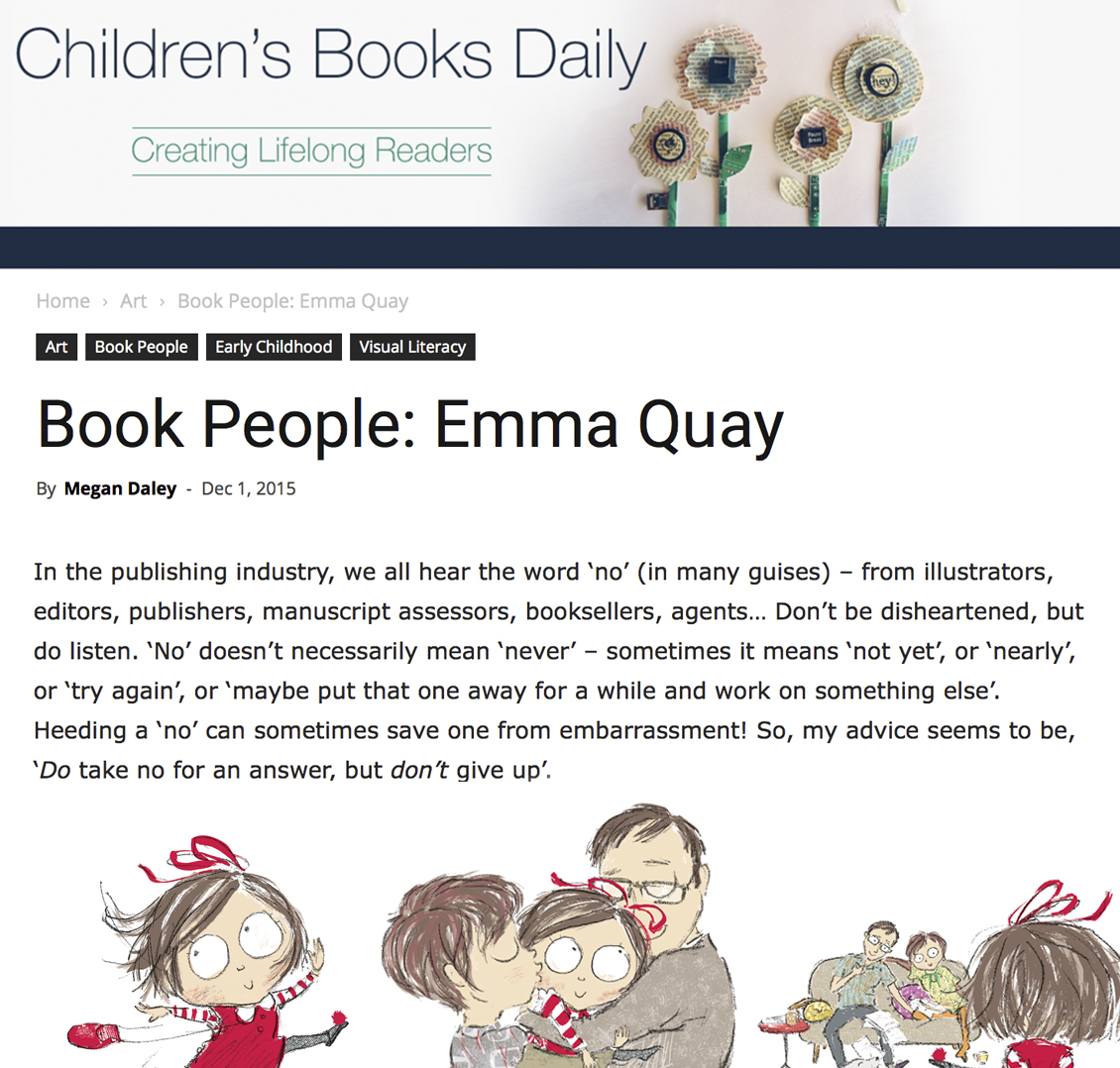 CHILDREN'S BOOKS DAILY interview with Emma Quay, picture book illustrator and author, Dec 2015 • http://www.emmaquay.com