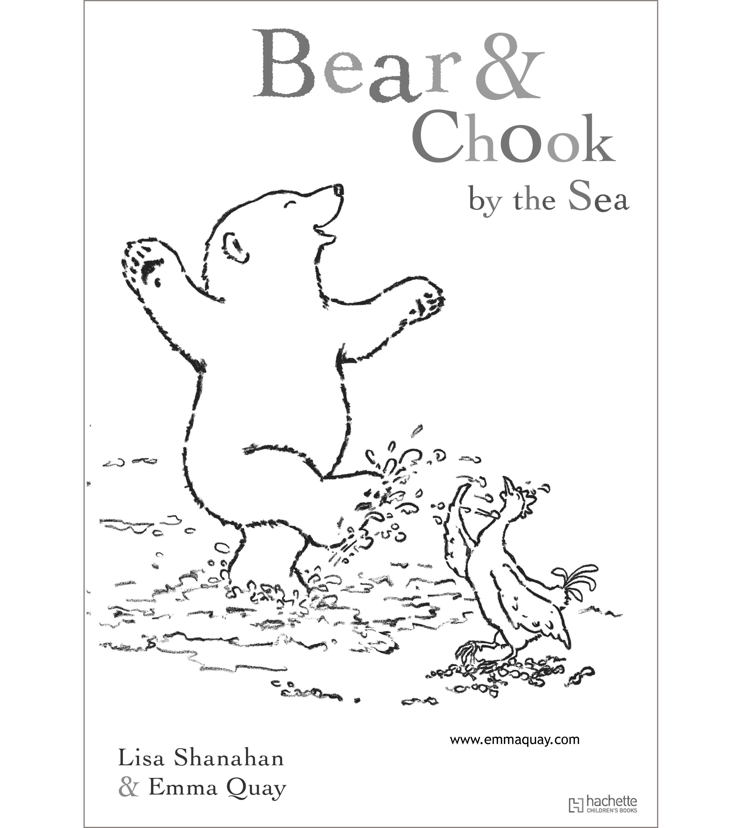 BEAR AND CHOOK BY THE SEA colouring activity • http://www.emmaquay.com