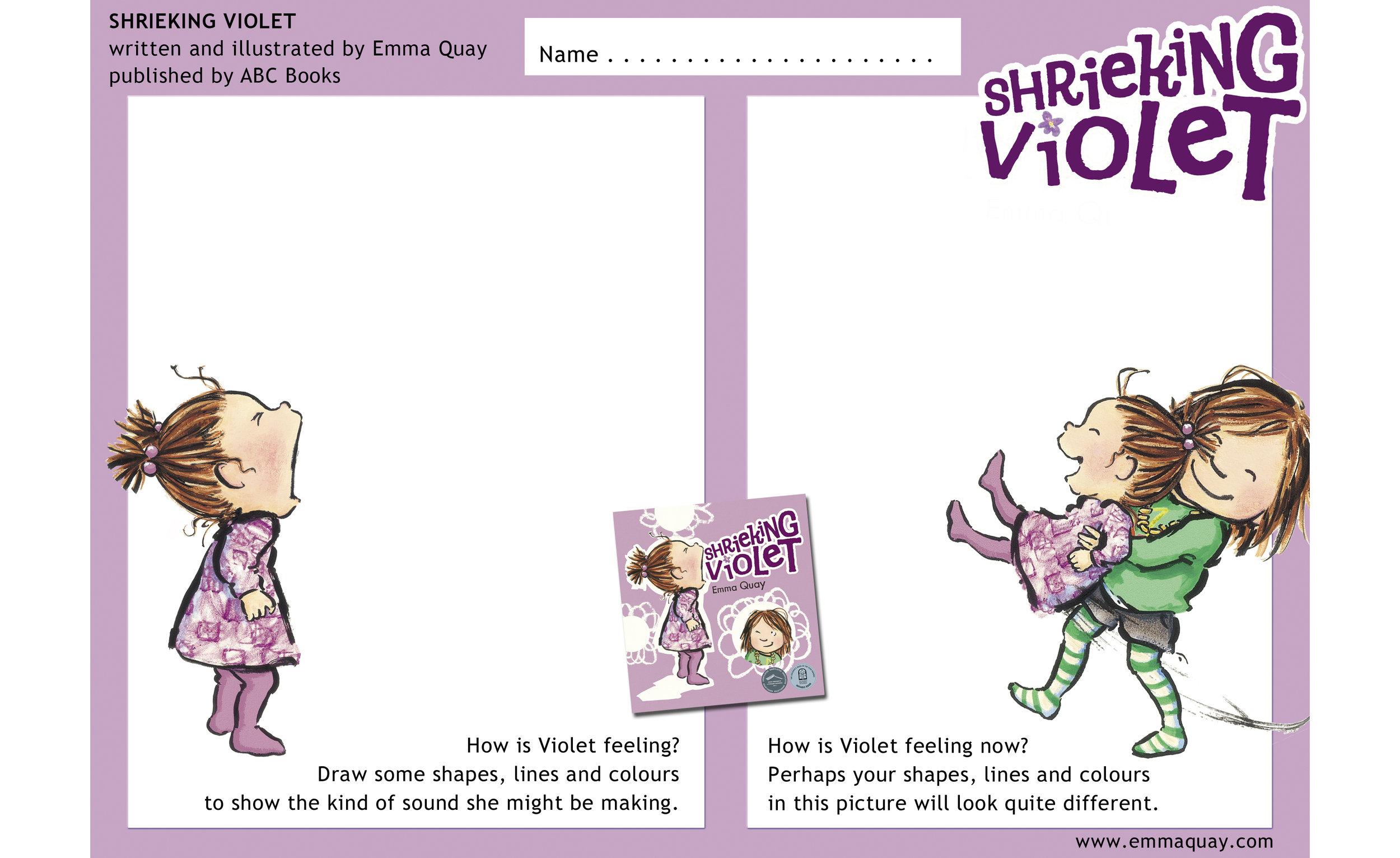SHRIEKING VIOLET drawing activity • http://www.emmaquay.com