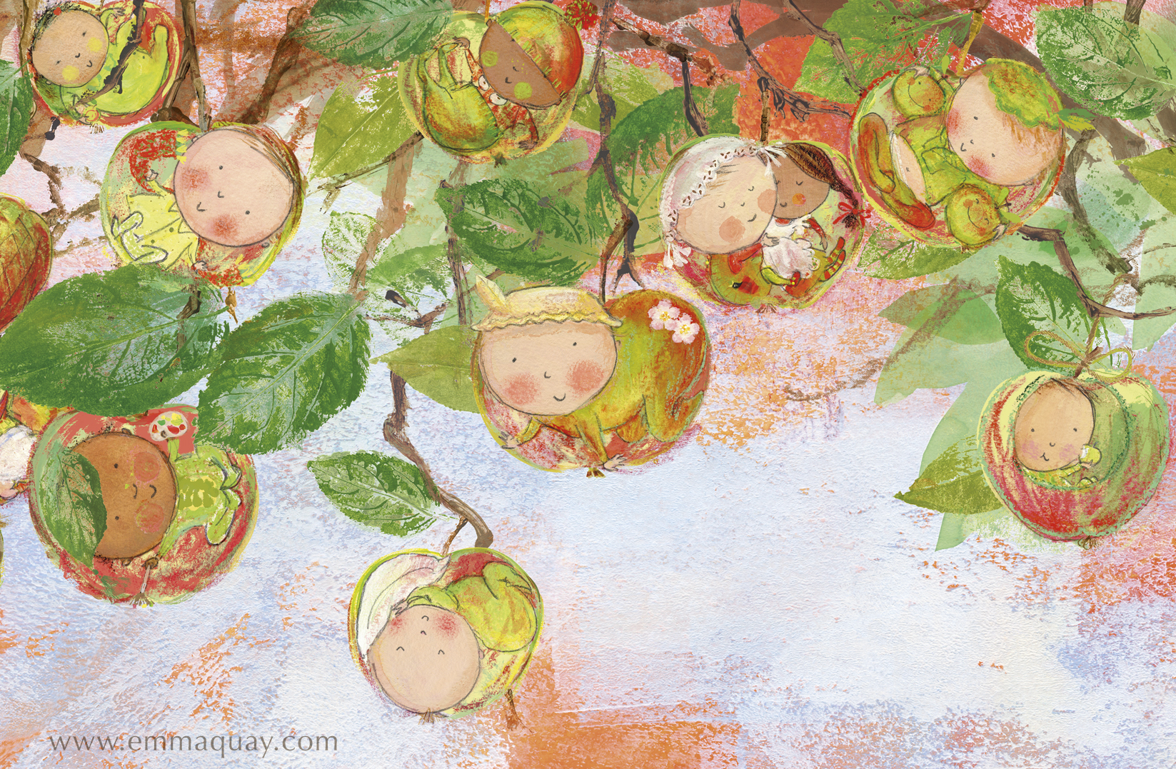 """If babies were apples"" illustration from MY SUNBEAM BABY by Emma Quay (ABC Books) - www.emmaquay.com"
