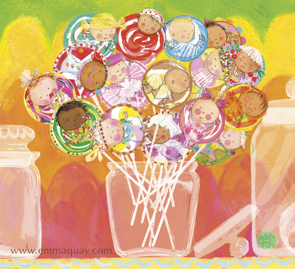 """If babies were lollipops"" illustration from MY SUNBEAM BABY by Emma Quay (ABC Books) - www.emmaquay.com"