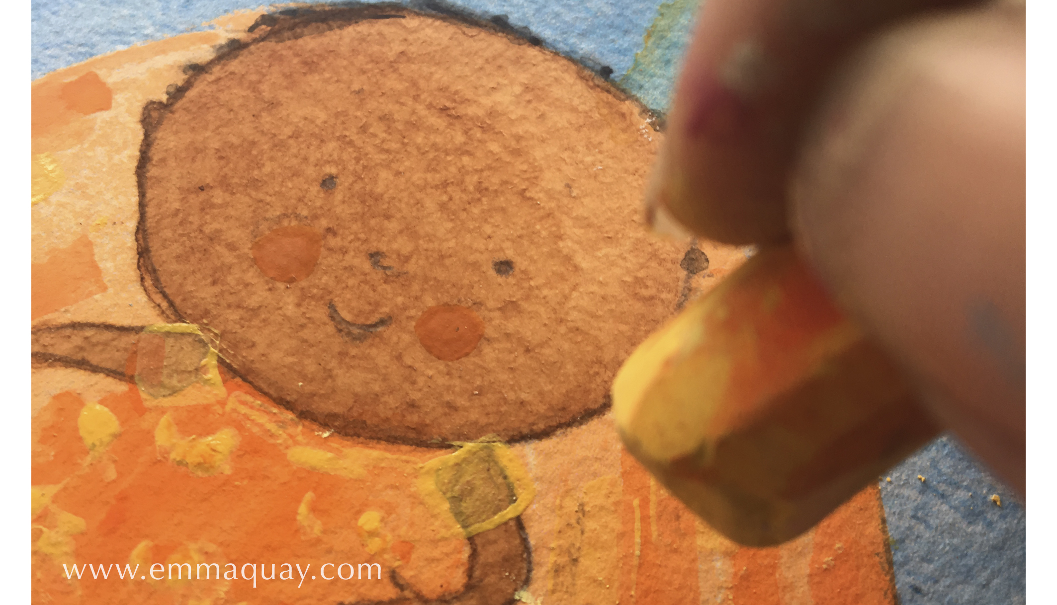 Illustrating MY SUNBEAM BABY - chalk pastel on acrylic paint - www.emmaquay.com