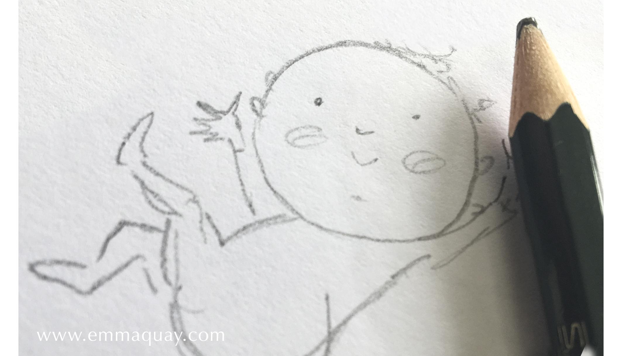 Illustrating MY SUNBEAM BABY - pencil - www.emmaquay.com
