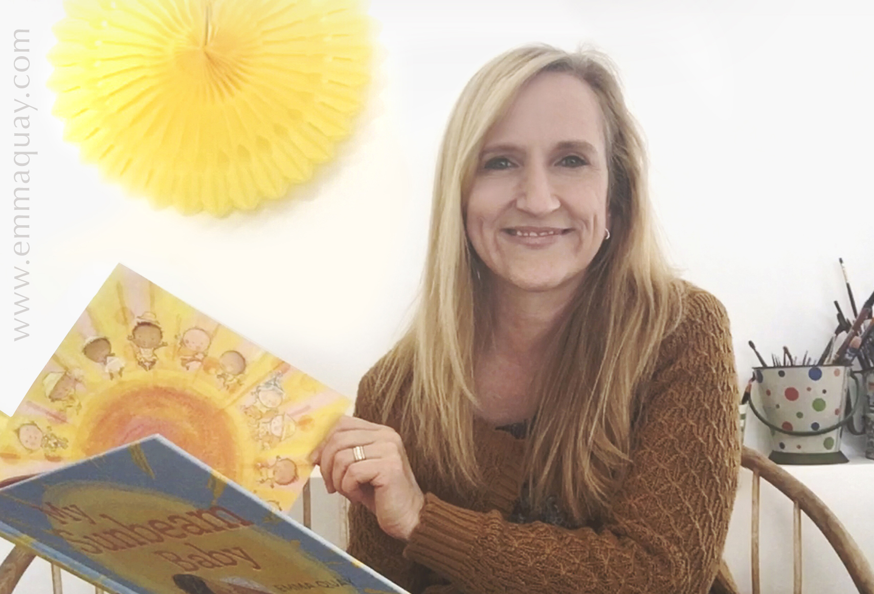 Emma Quay, illustrator and author, with her book MY SUNBEAM BABY (ABC Books) - www.emmaquay.com