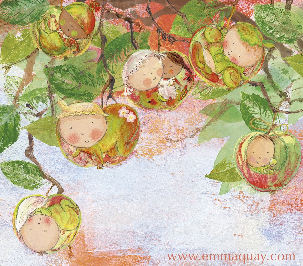 "Detail of an illustration by Emma Quay from MY SUNBEAM BABY (ABC Books) - ""If babies were apples, dangling from a tree…"""