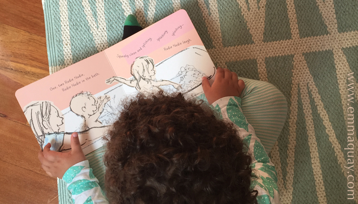 """'One, two Rudie Nudie…"""" - Reading RUDIE NUDIE on the rug - a picture book by Emma Quay (ABC Books)"""