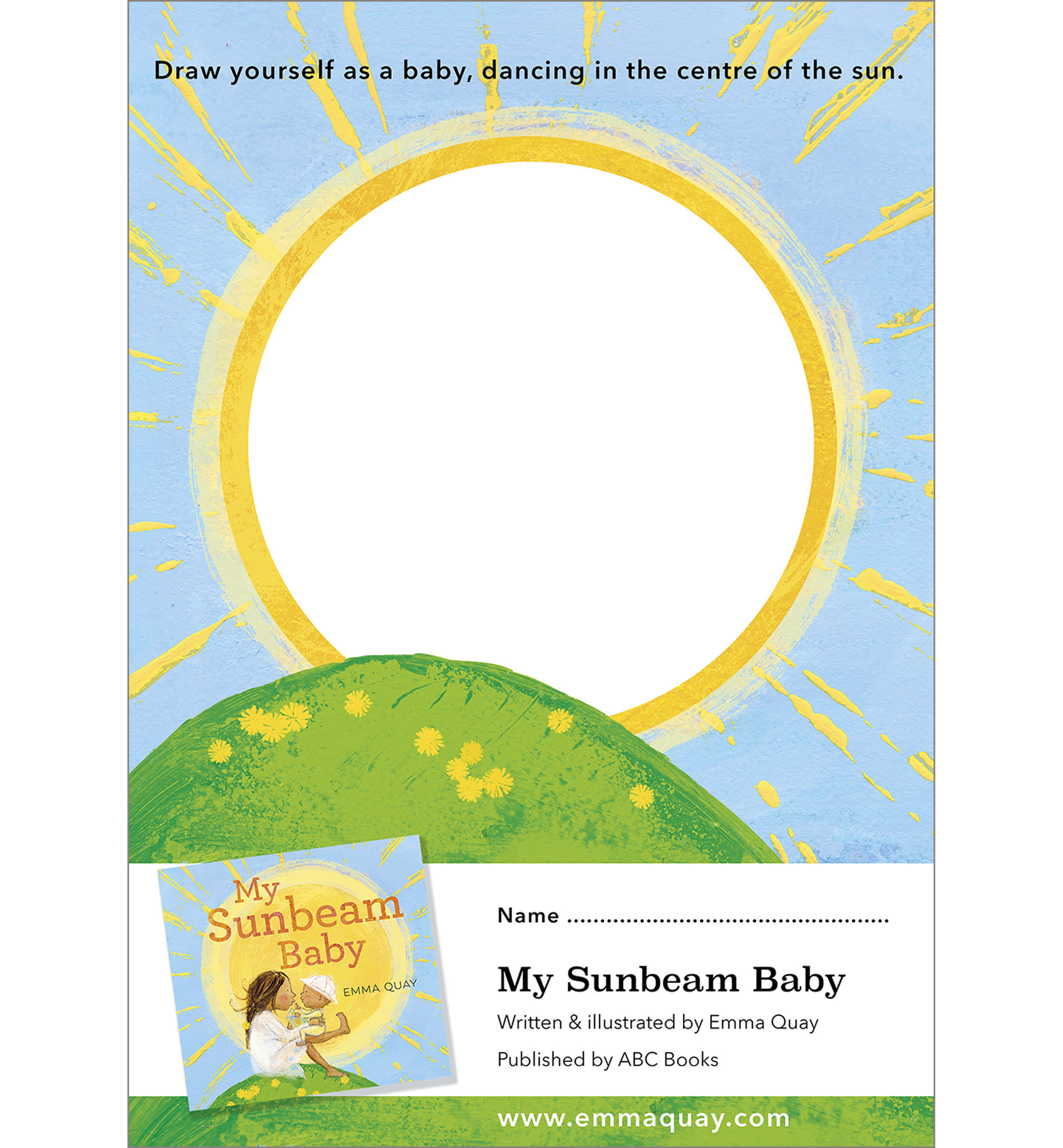 MY SUNBEAM BABY drawing activity • http://www.emmaquay.com