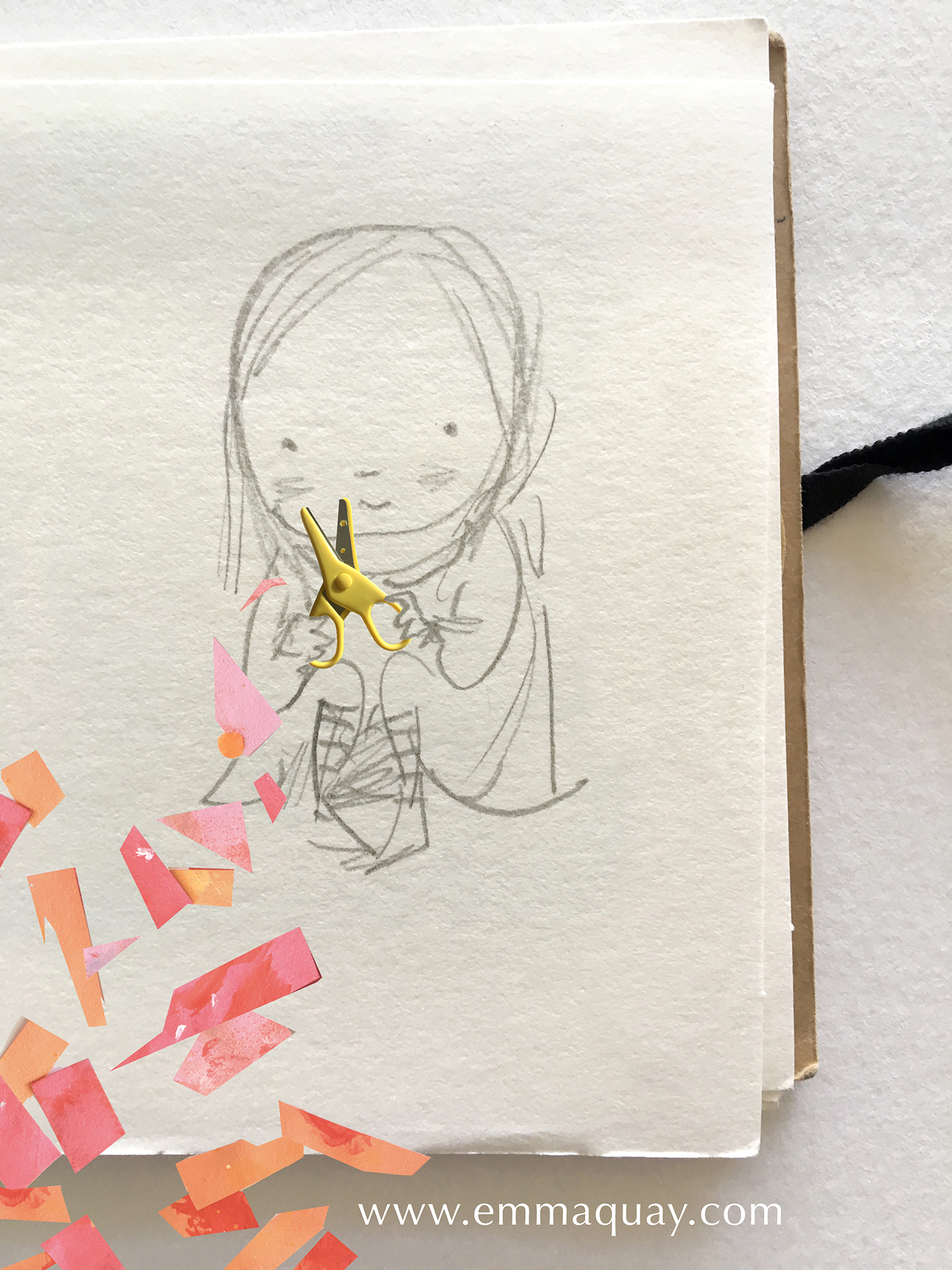Today, I've been playing with scissors #emmaquaysketchbook
