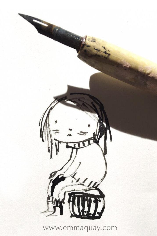 """Nice hat"" in pen and ink #emmaquaysketchbook"
