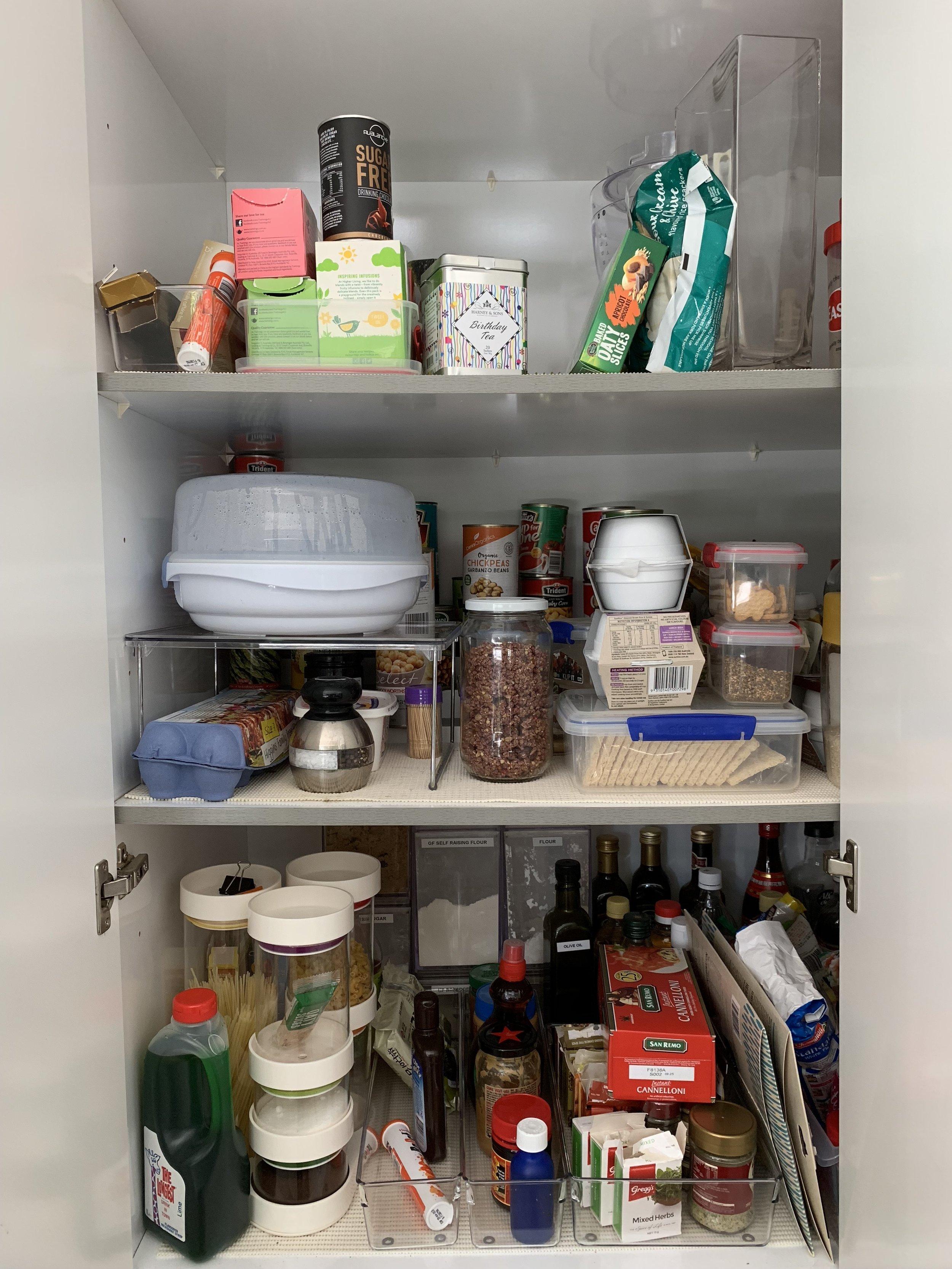 Pantry before - the three main shelves