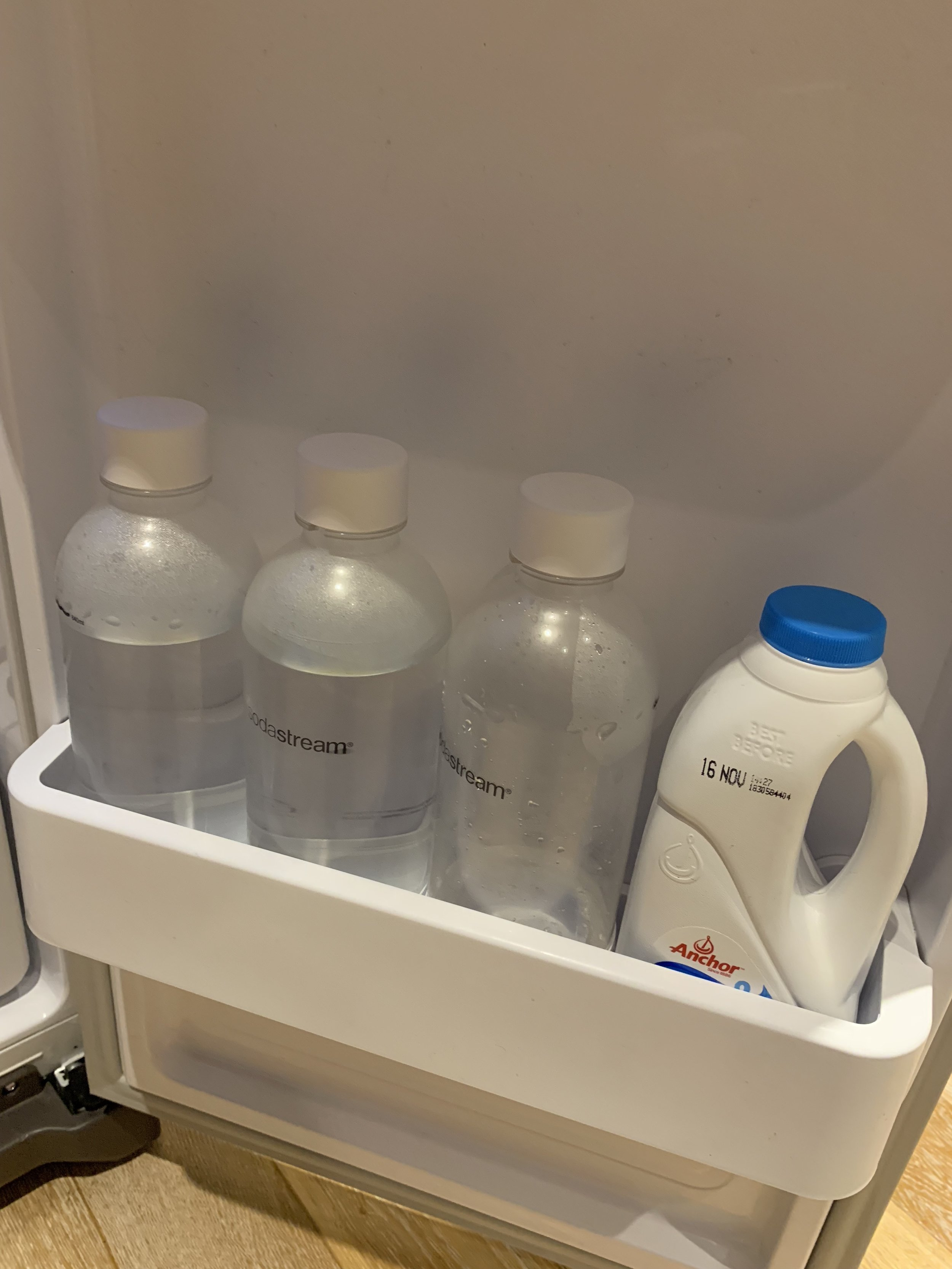Sodastream setup (L-R: Bottles #3, #2, #1)