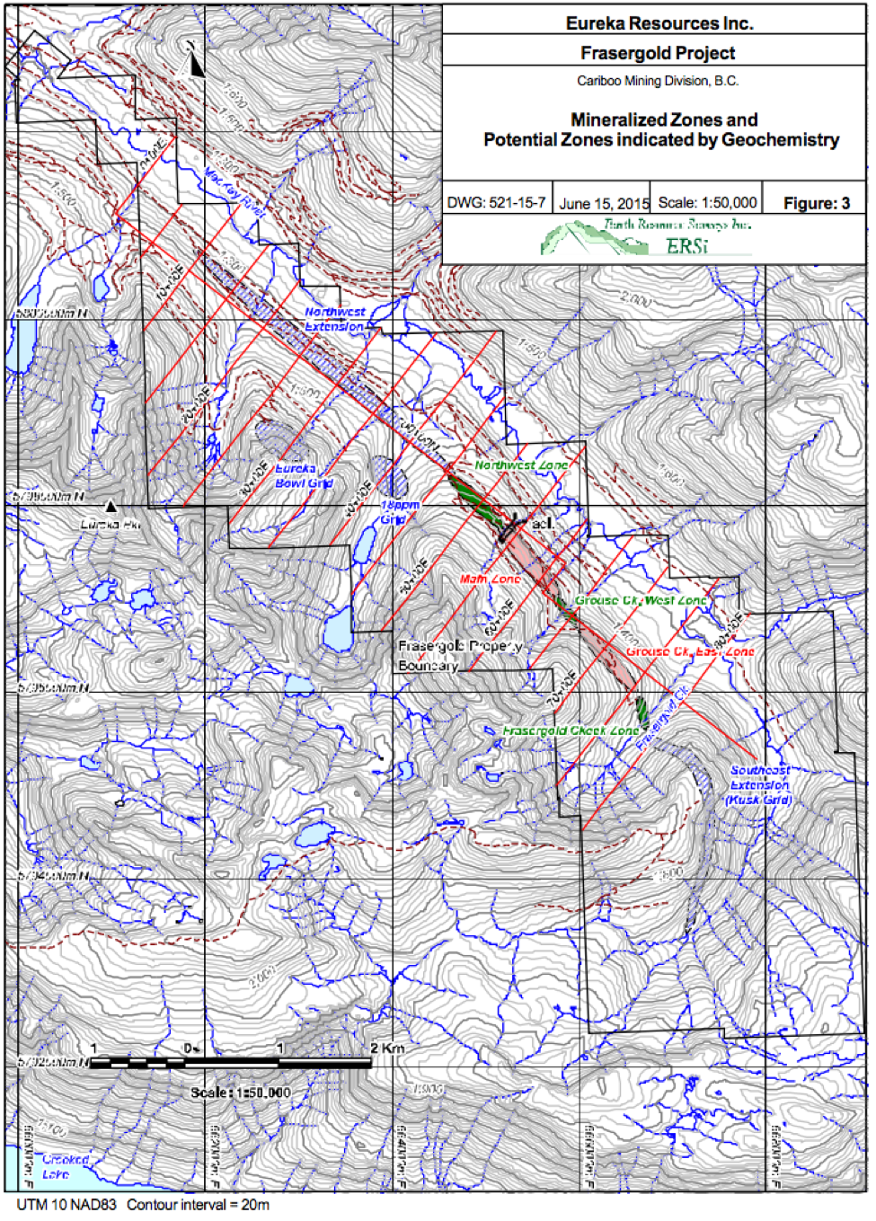 Mineralized Zones interpreted by Eureka Resources prior to KORE staking and data compilation.