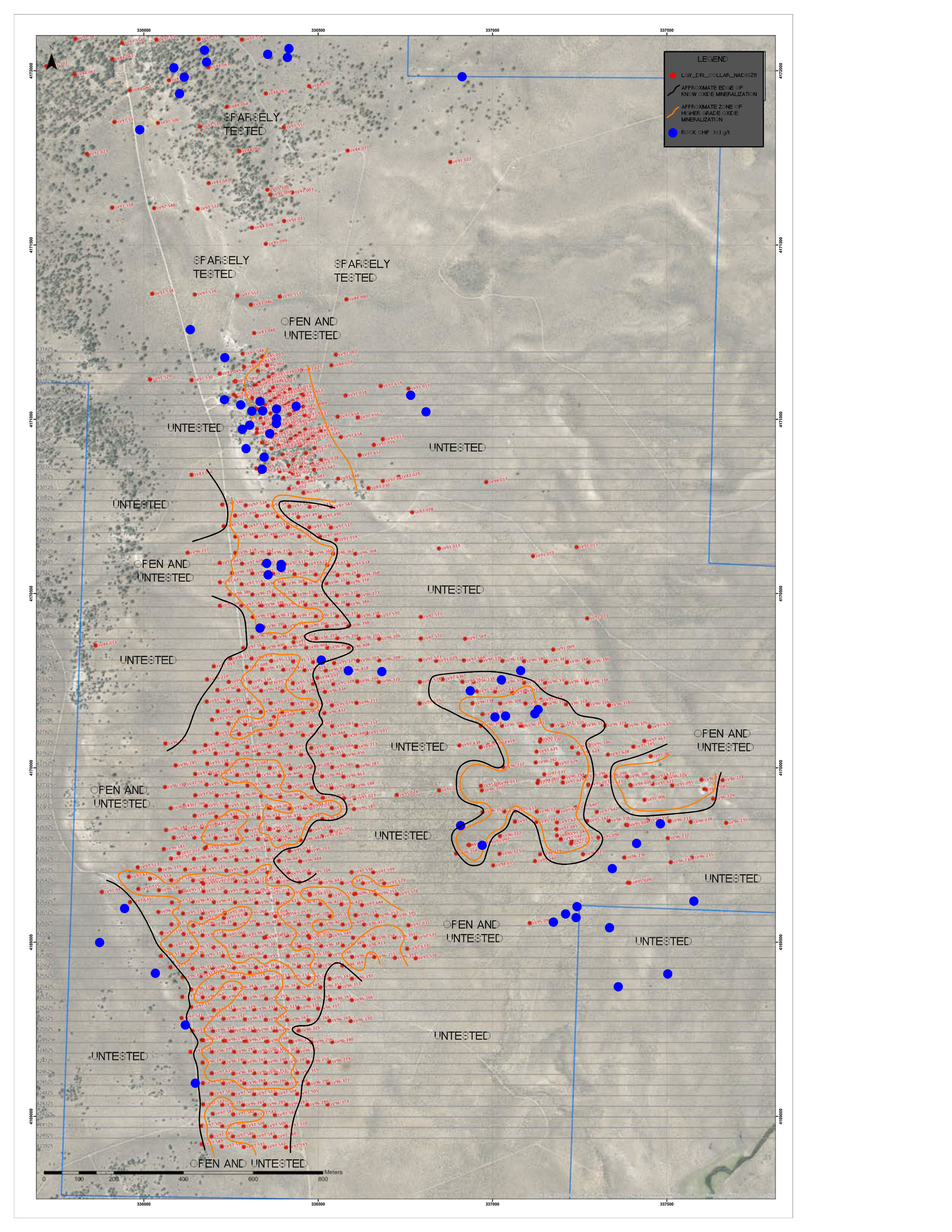 Long Valley drill collars (RED) showing approximate edge of known oxide mineralization, zones of higher grade (ORANGE) and rock chip samples >0.1g/t (BLUE).