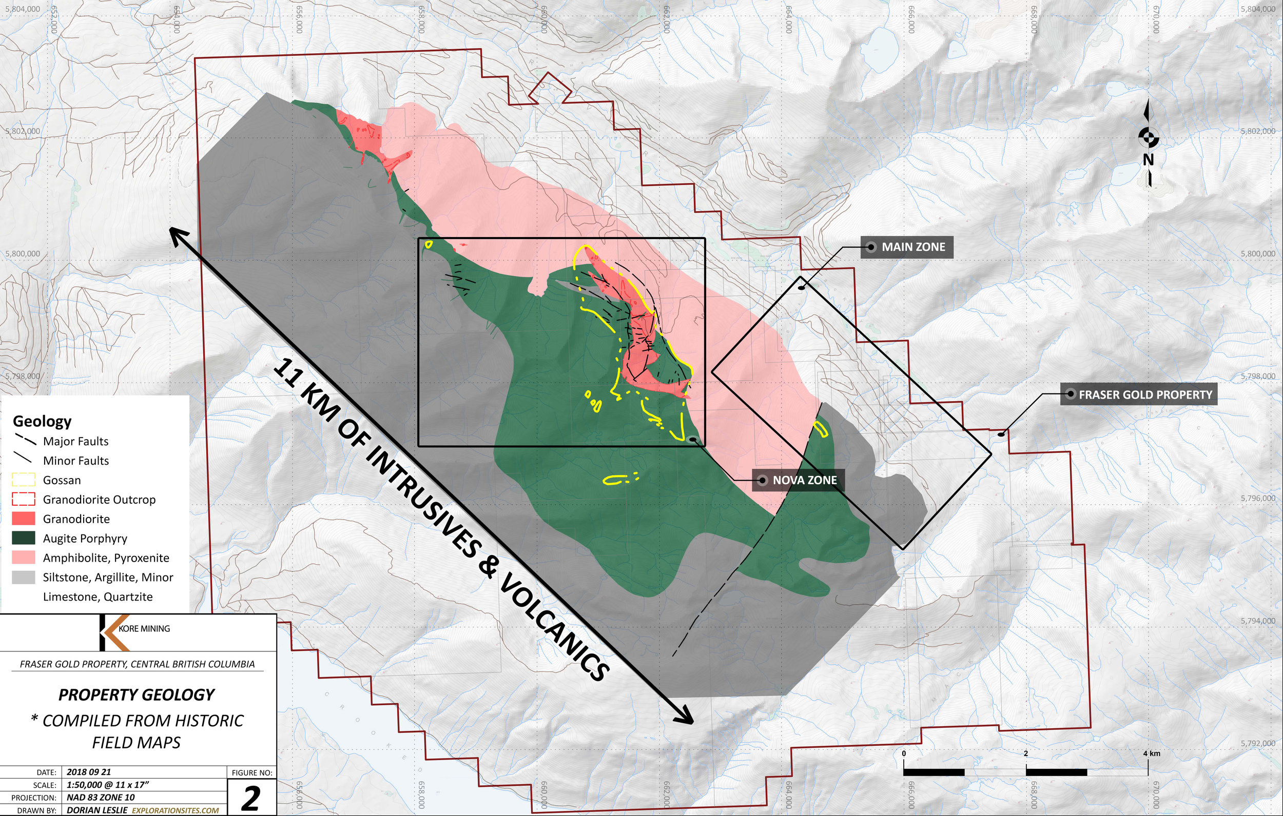 Updated Property Boundary, Geology, Main Zone and Nova Zone