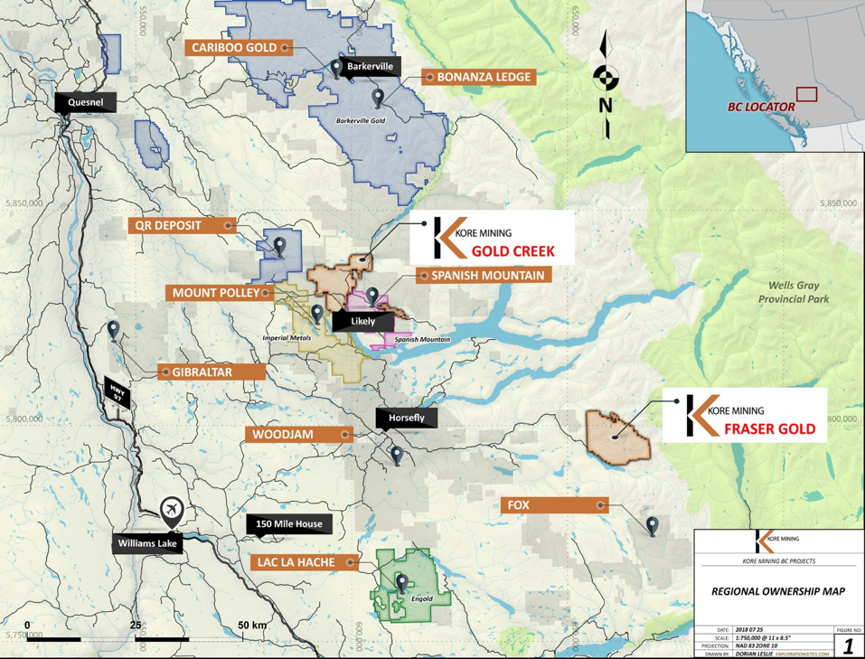 REGIONAL MAP SHOWING KORE'S 100% OWNED GOLD CREEK AND FRASER GOLD (FG) PROPERTIES