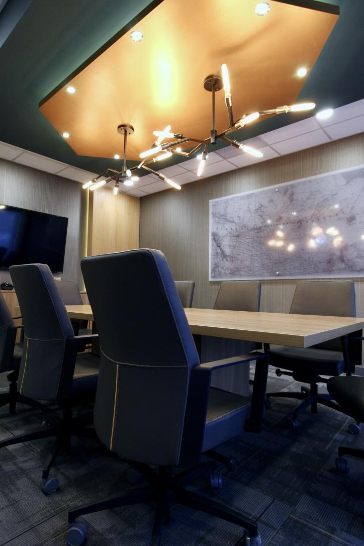 metric design centre, interior design, renovation, contractor, palliser insurance saskatoon, commercial, office, board room, lighting, ceiling mount.jpg