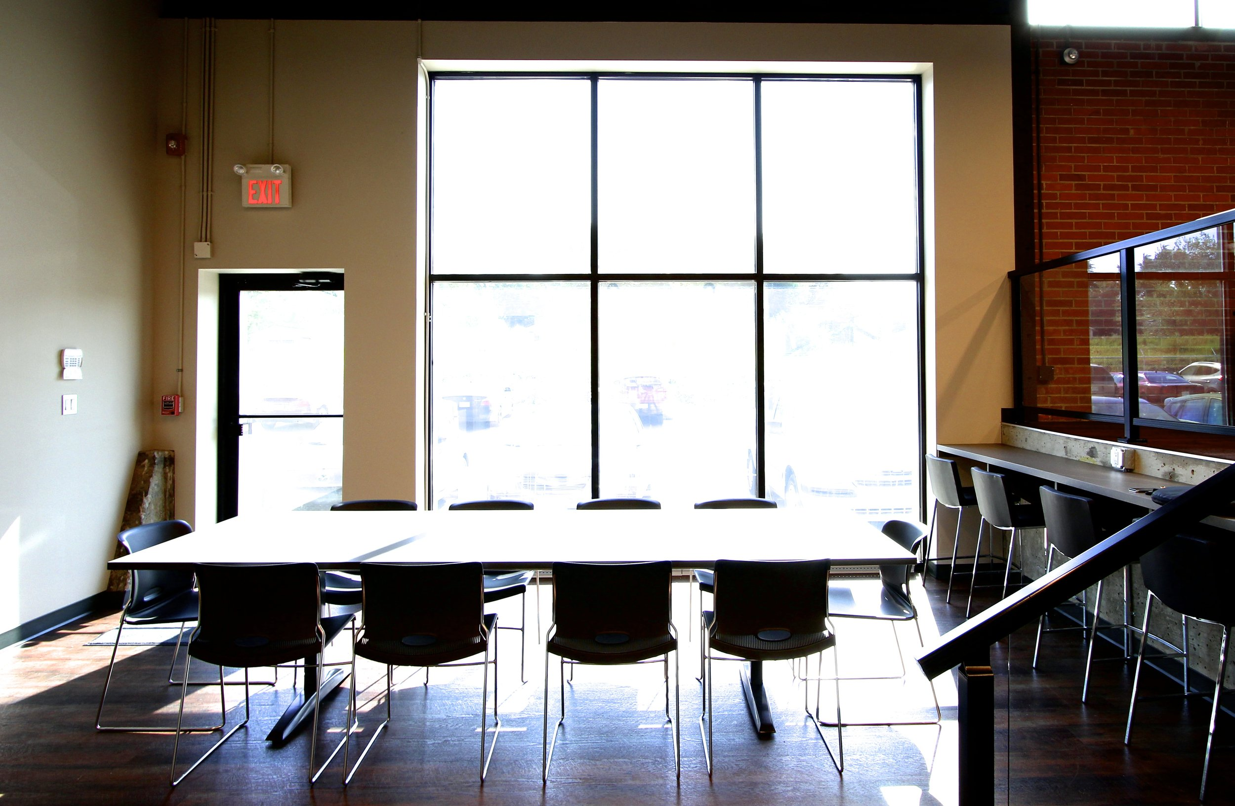 Metric Design, Interior Design, Saskatoon, Renovation, Office Lunch room, Natrual Light, Exposed Brick.jpg