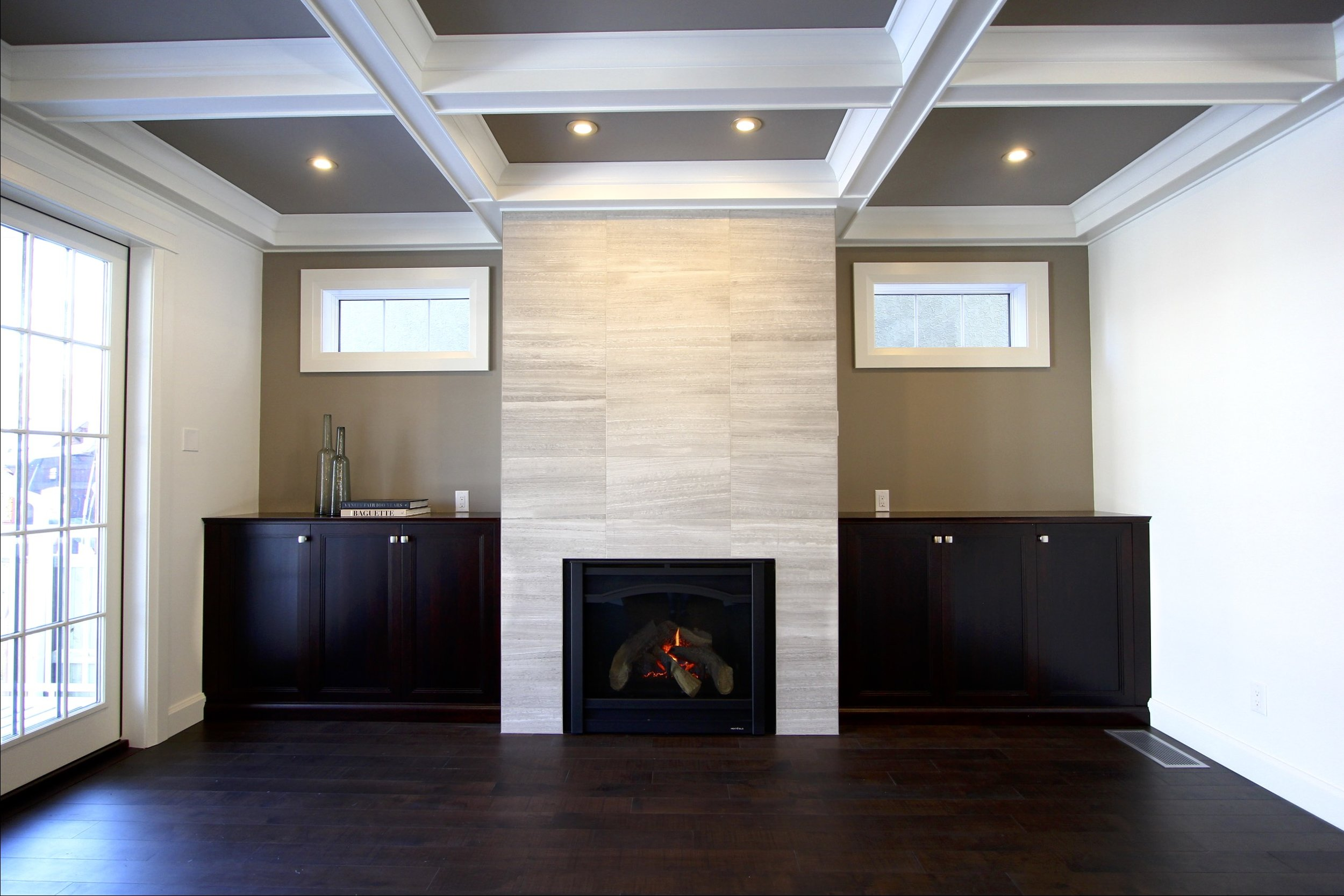Metric Design Centre, Interior Design, Saskatoon, Residential Design, New Home Build, Custom Millwork, Coffered Ceiling, Custom Cabinetry, Transitional Design, Fireplace, Recessed Lighting, Large Scale Marble Tile, French Doors, Built-ins.jpg