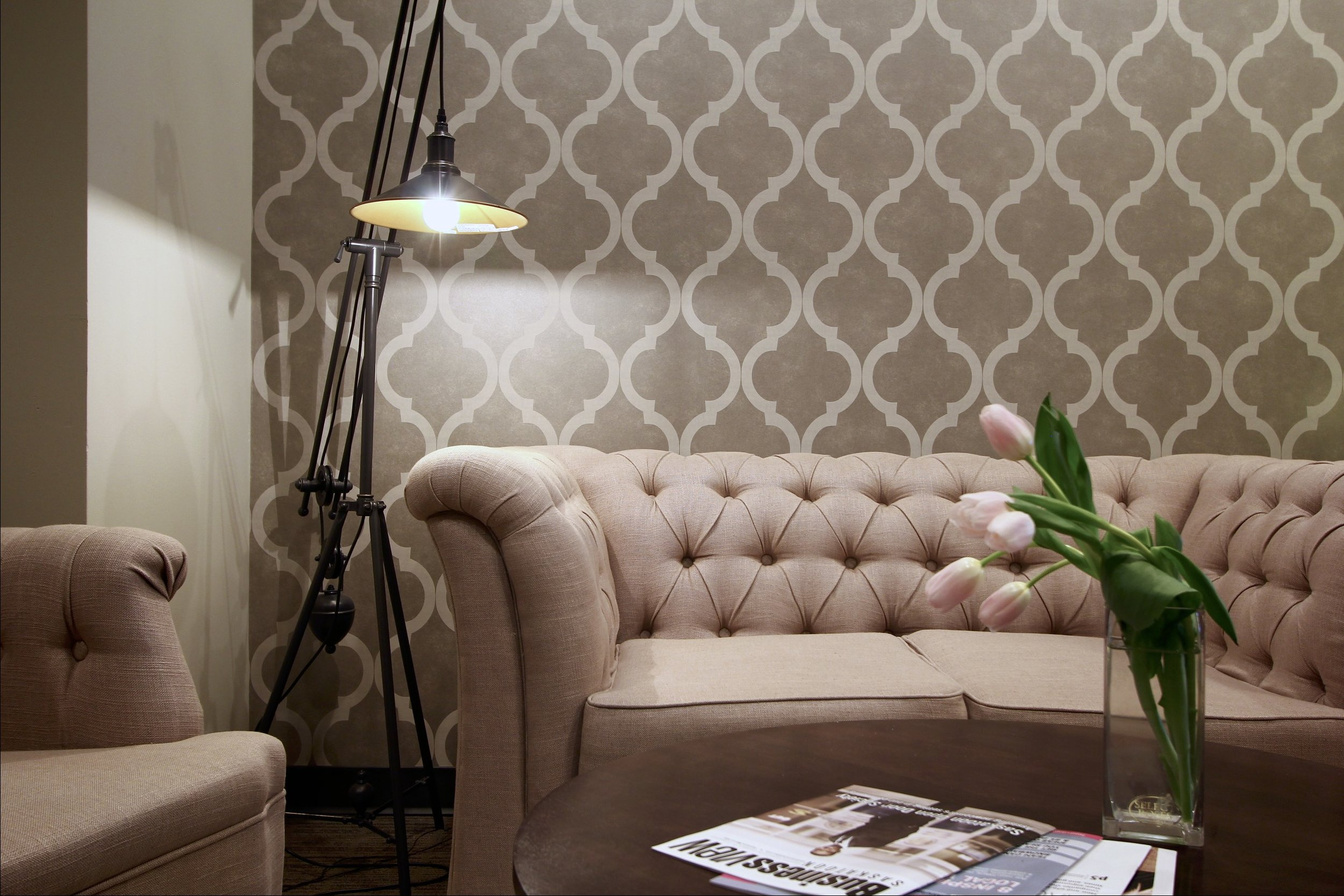 Metric Design Centre, Interior Design, Saskatoon, Commercial Design, Waiting Room, Front Entrance, Tufted Sofa, Floor Lamp, Feature Wall, Renovations, Contractor, Coffee Table, Glam, Rustic.jpg