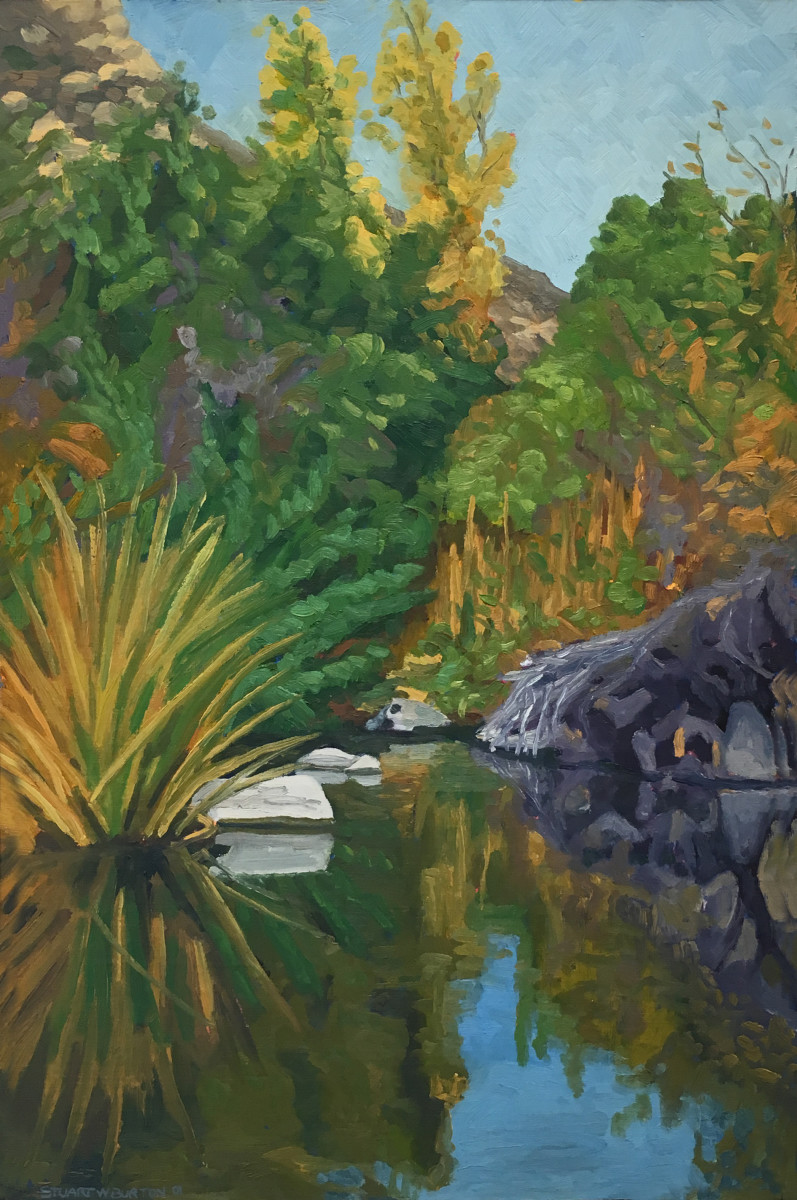 Reflection Pond, Mission Trails Park  28x19  Oil on Panel  2001