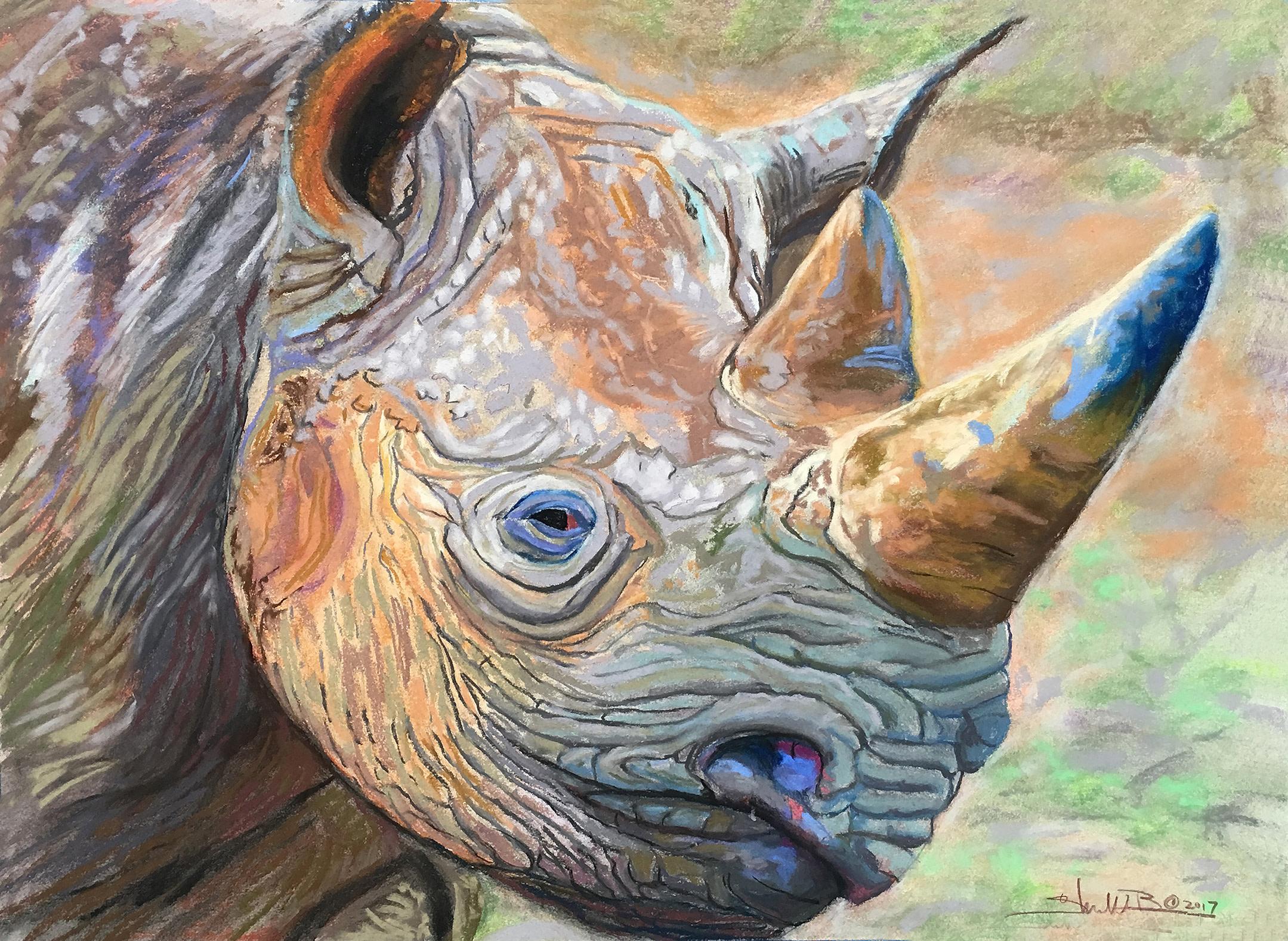Black Rhino  20 x 28  Pastel on Paper  2017