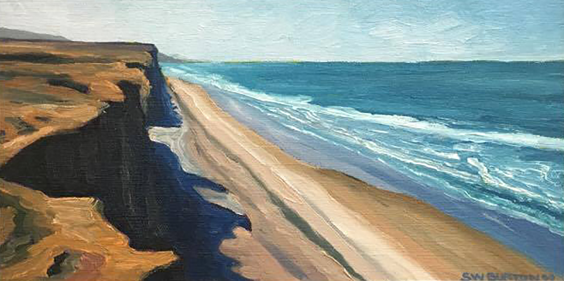 Cliff Side Shadows South   6x12   Oil on Panel     2000