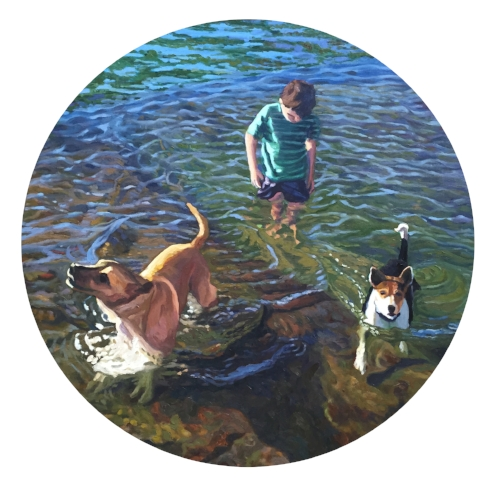 """Jack in the Tide Pool  28"""" Tondo  Oil on Canvas"""
