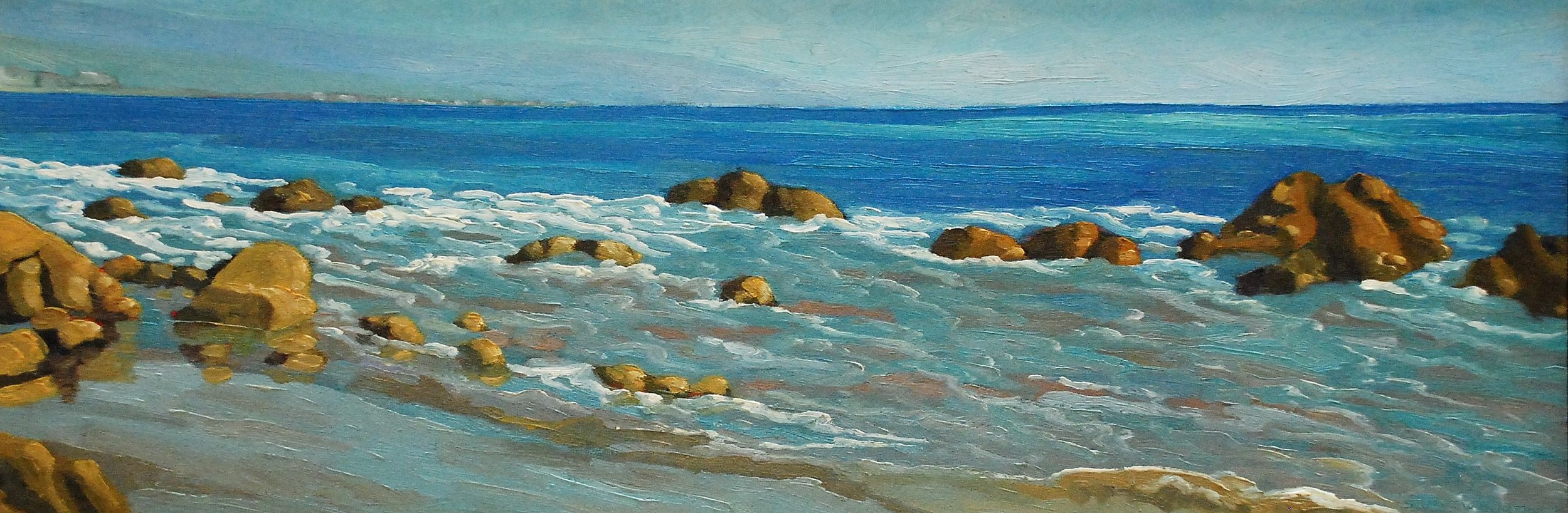 Low Tide Stream, Malibu    9x26     Oil on Panel     2003