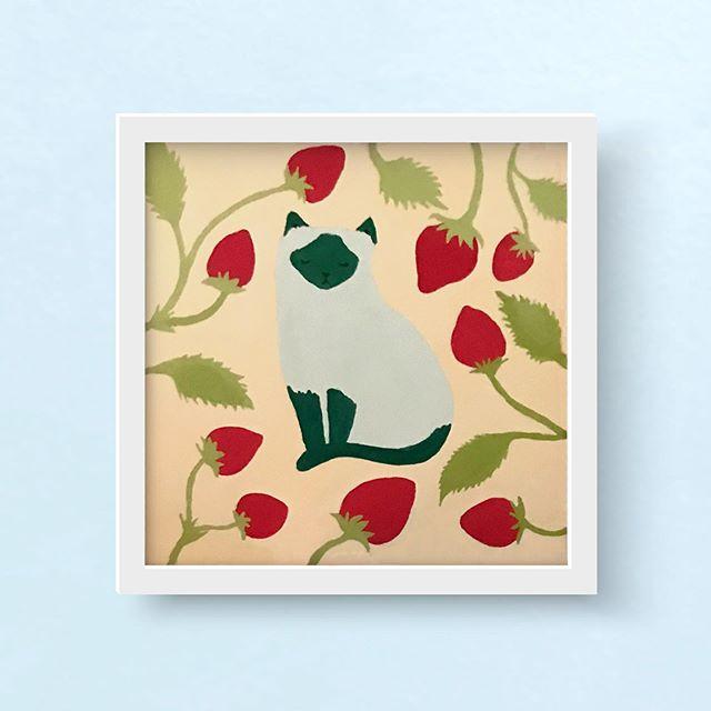 🍓 🐱 🍓 More cats, more fruit!⠀ ⠀ ⠀ ⠀ ⠀ ⠀ ⠀ ⠀ #design #illustration #catsofinstagram #siamese #siamesecat #gouache #catpainting #pdxdesign #pdxillustrators #designingwomen #femaledesigners #eyeondesign⠀
