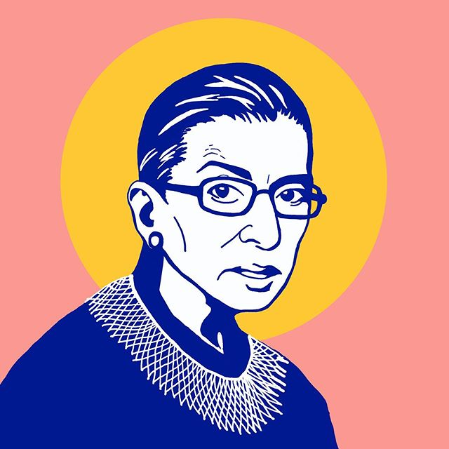 While I'm not feeling particularly patriotic these days, I think it's worth taking stock celebrating those parts of our country that I can feel proud of. ⠀ ⠀ RBG fought hard against plenty of adversity to blaze a trail for other women and rise to a position of power. She uses her platform to voice dissent and speak for those whose voices we rarely get to hear. And that's an American value I'll happily stand behind. ⠀ ⠀ Plus, you have to respect the woman's side-eye game. ⠀ ⠀ ⠀ ⠀ ⠀ ⠀ ⠀ ⠀ ⠀ #4thofjuly #july4th #USA #America #RBG #ruthbaderginsburg #dissent #notoriousrbg #scotus #democracy⠀ ⠀ #illustration #design #graphicdesign #pdxdesigners #pdxillustrators #eyeondesign #designingwomen #womenofillustration #femaledesigners #pdx⠀ ⠀ 