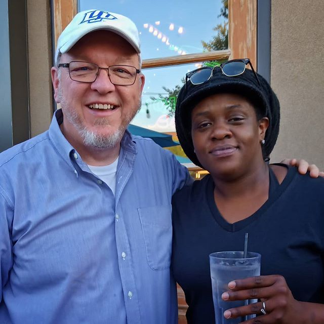 Ran into our bass player tonight. Joy Harris as one of the best in the business.