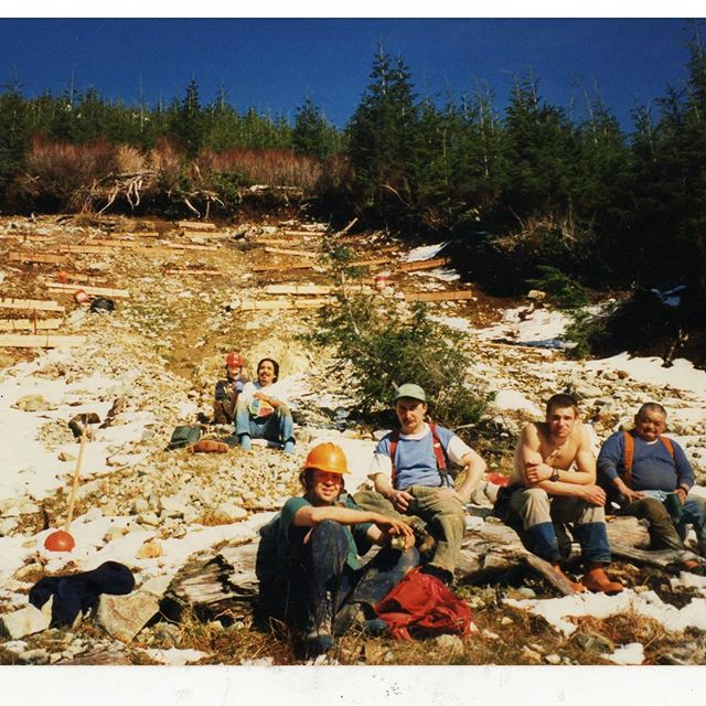 Throwback 21 years to CWFS crew working to stabilize a logging induced landslide above Lost Shoe creek in 1997. . . Lost shoe is one of the main rivers within the Kennedy Flats Watershed. This area was once one of the most productive salmon watersheds on the west coast. . . The flats were also home to a vast expanse of easily accessed old-growth and so it was logged mercilessly; resulting in the loss of huge amounts of prime salmon and wildlife habitat. . . #fortheloveofwildsalmon #restore #conservation #tofino #ucluelet