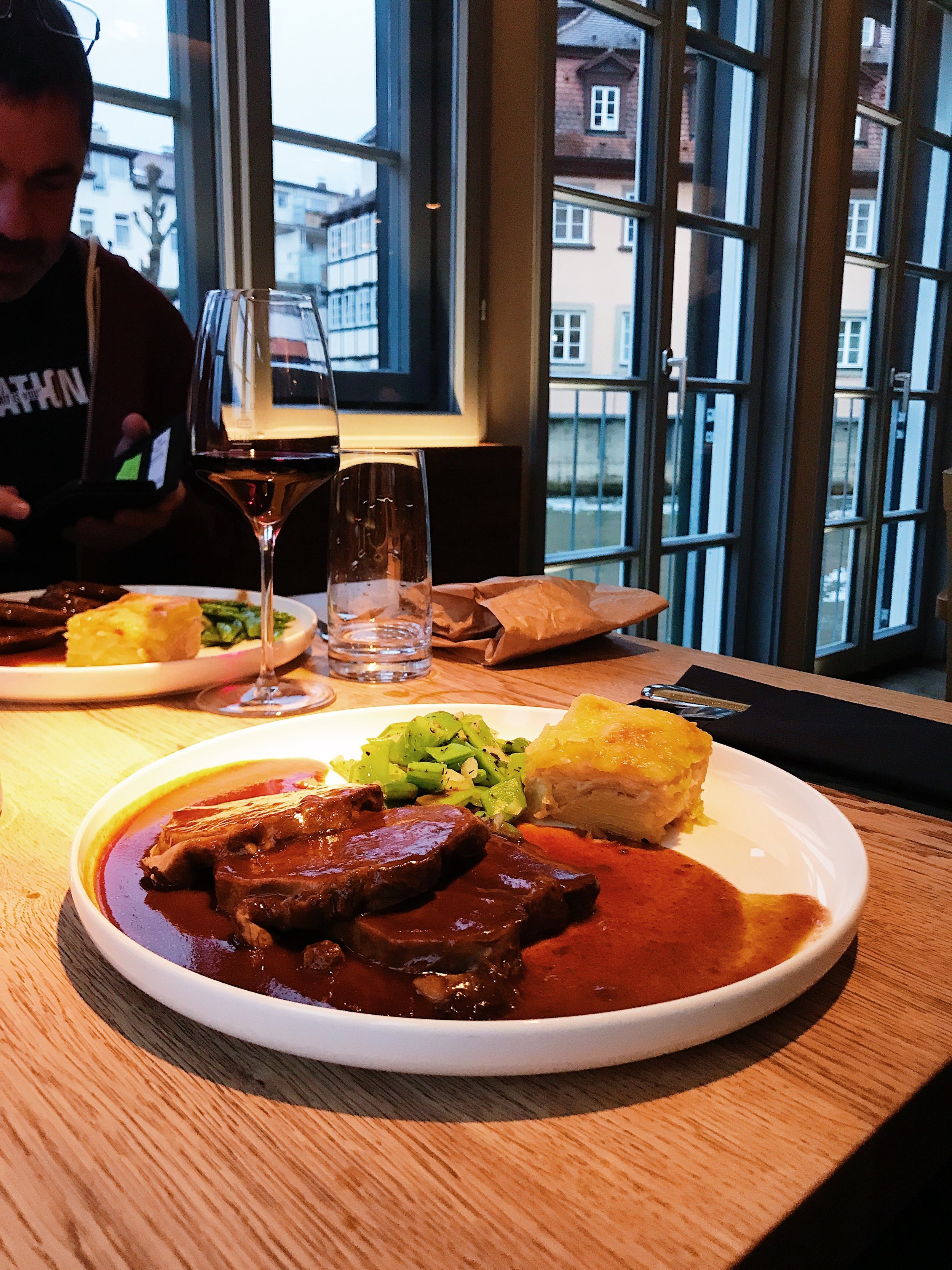 Sauerbraten with Potatoes and Snap Peas at Eckerts.