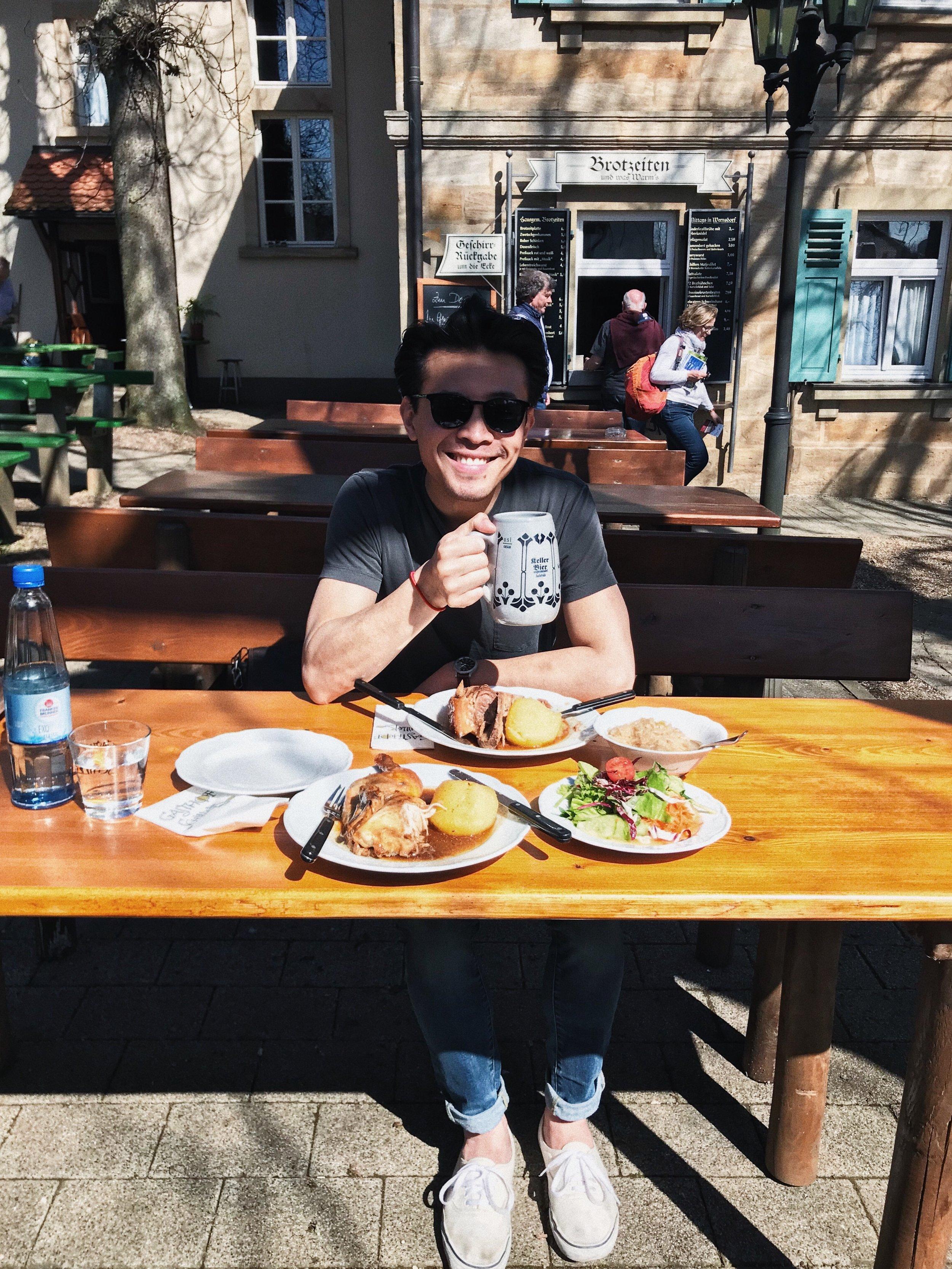 Having an outdoor meal at the Gasthof Schiller Biergarten!