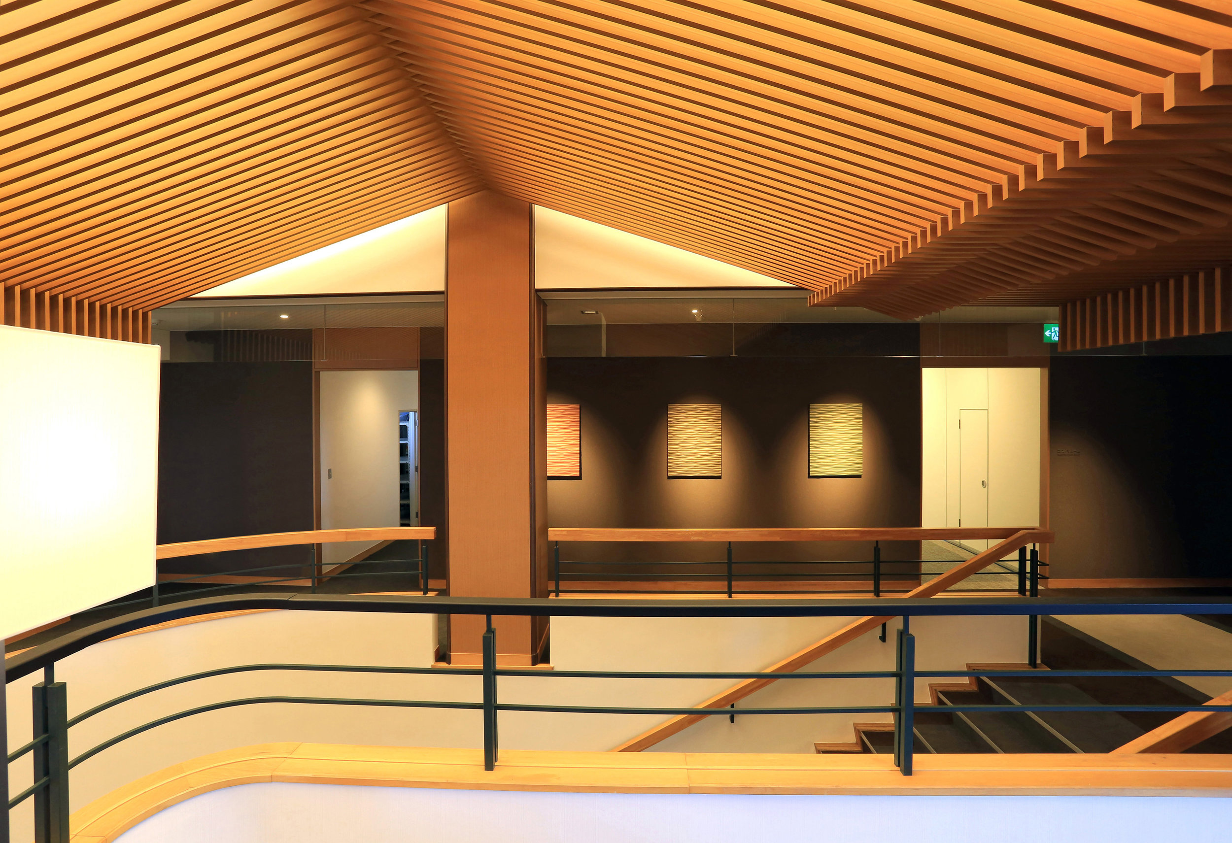 Commercial Office Ceiling - Japan Ever Art Wood® battens - Koshi 30x85mm standard hollow section in Pain