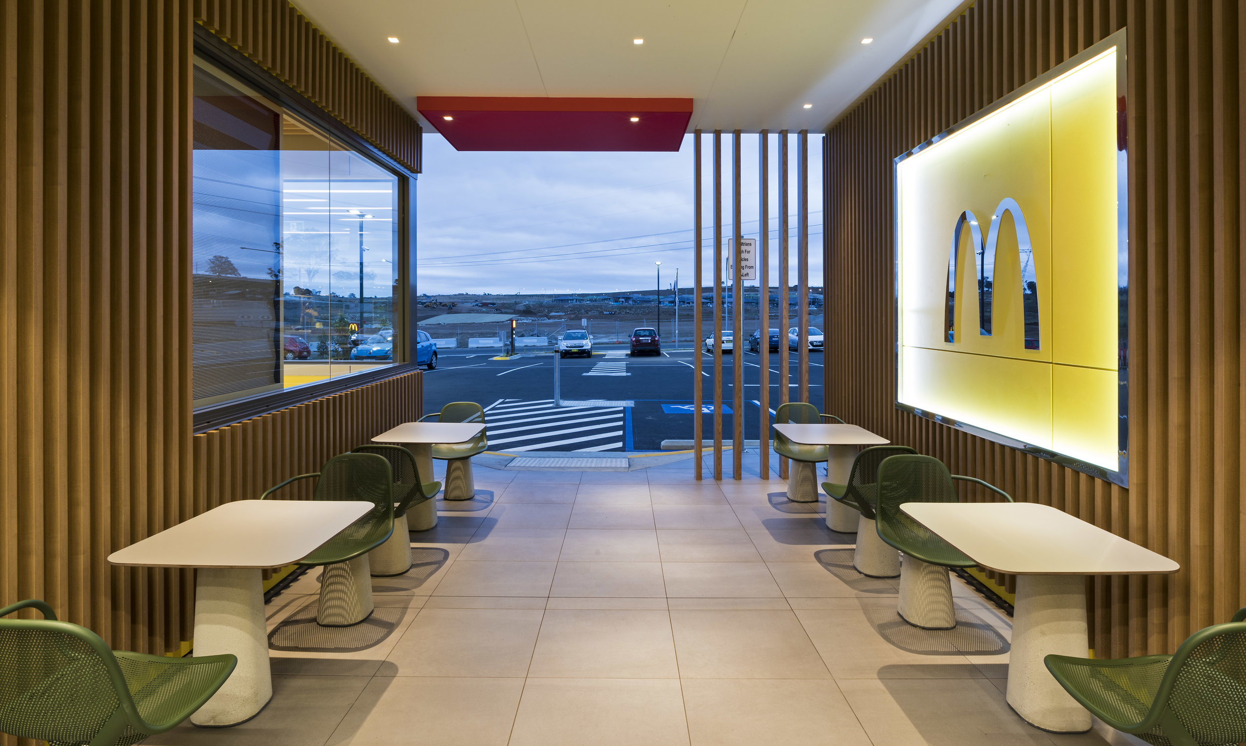 McDonald's - Emerald Hills VIC Ever Art Wood® battens - Kabebari 30x50 & 30x85 in Kuri Masame
