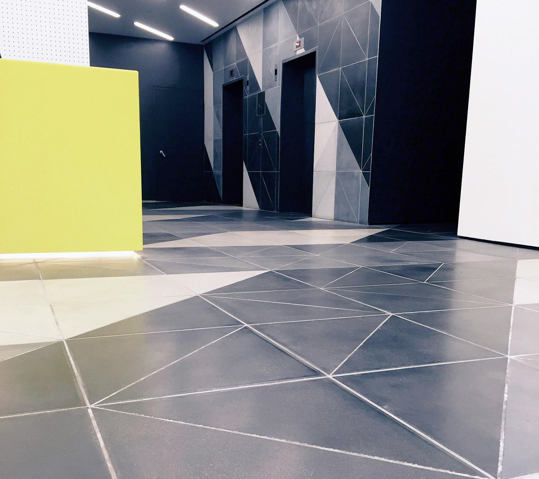 Interior concrete Tile Commercial lobby Laguns Smooth Custom triangle.jpg