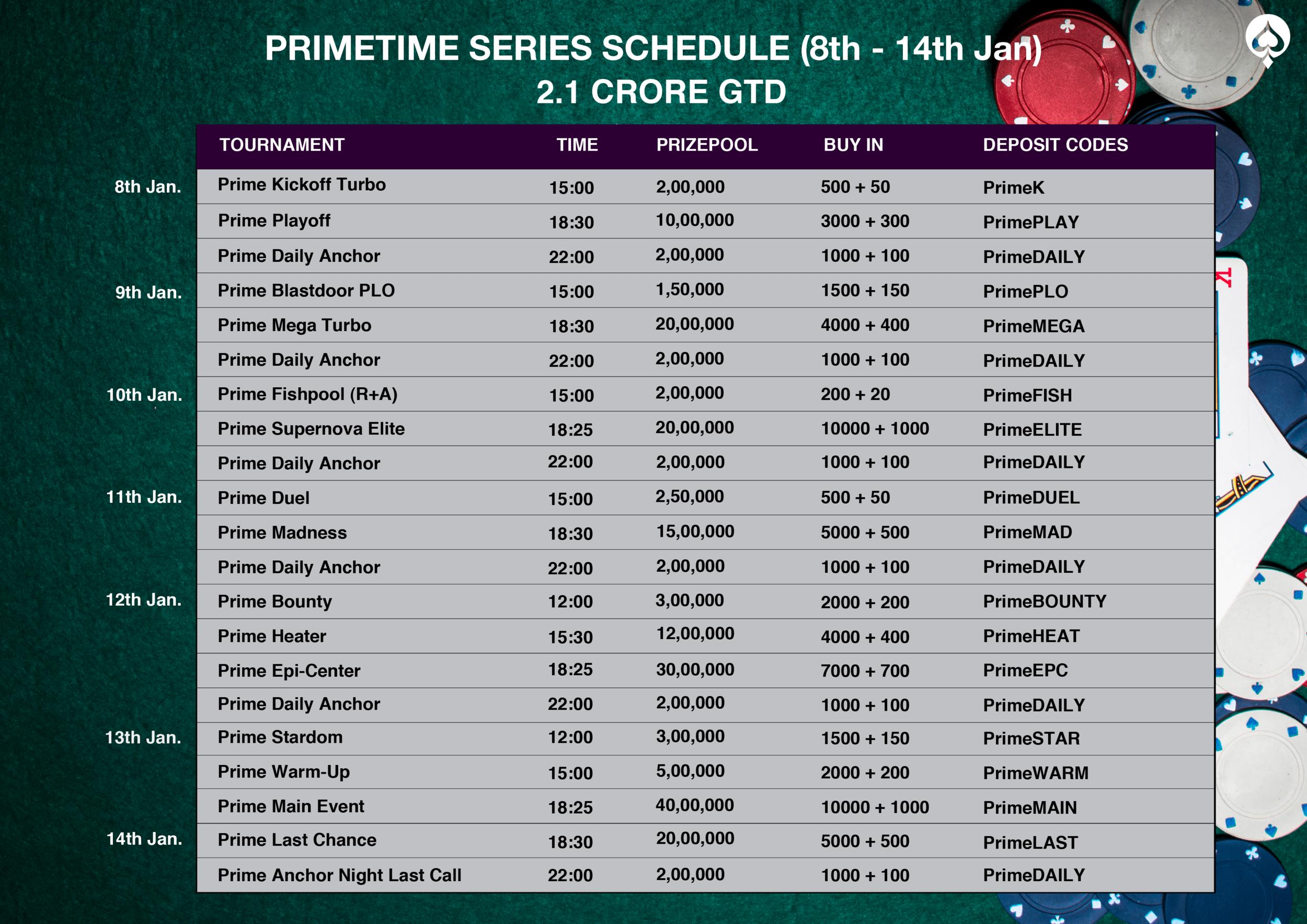 January Primetime Schedule