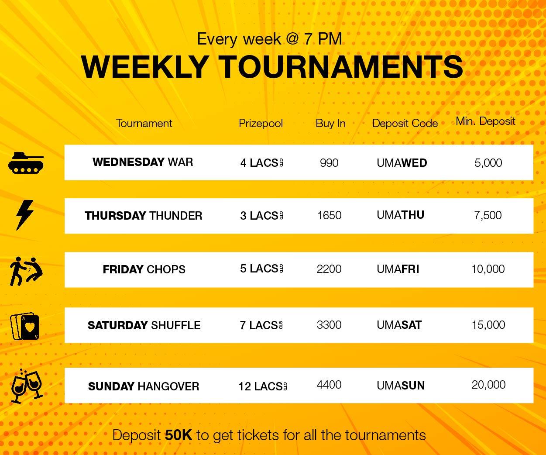 UMA Poker Weekly Schedule