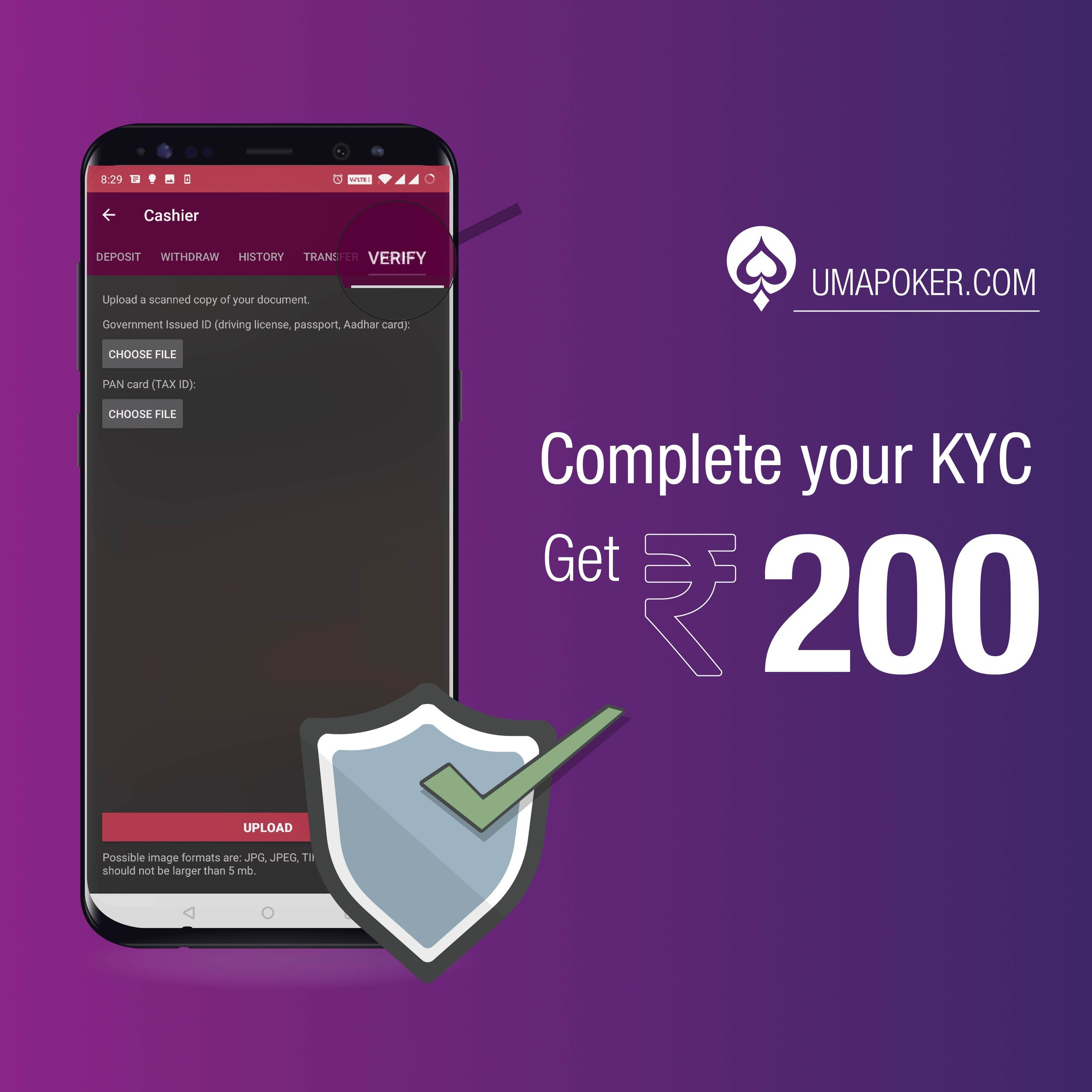Rs200 Poker Bonus, Finish KYC.